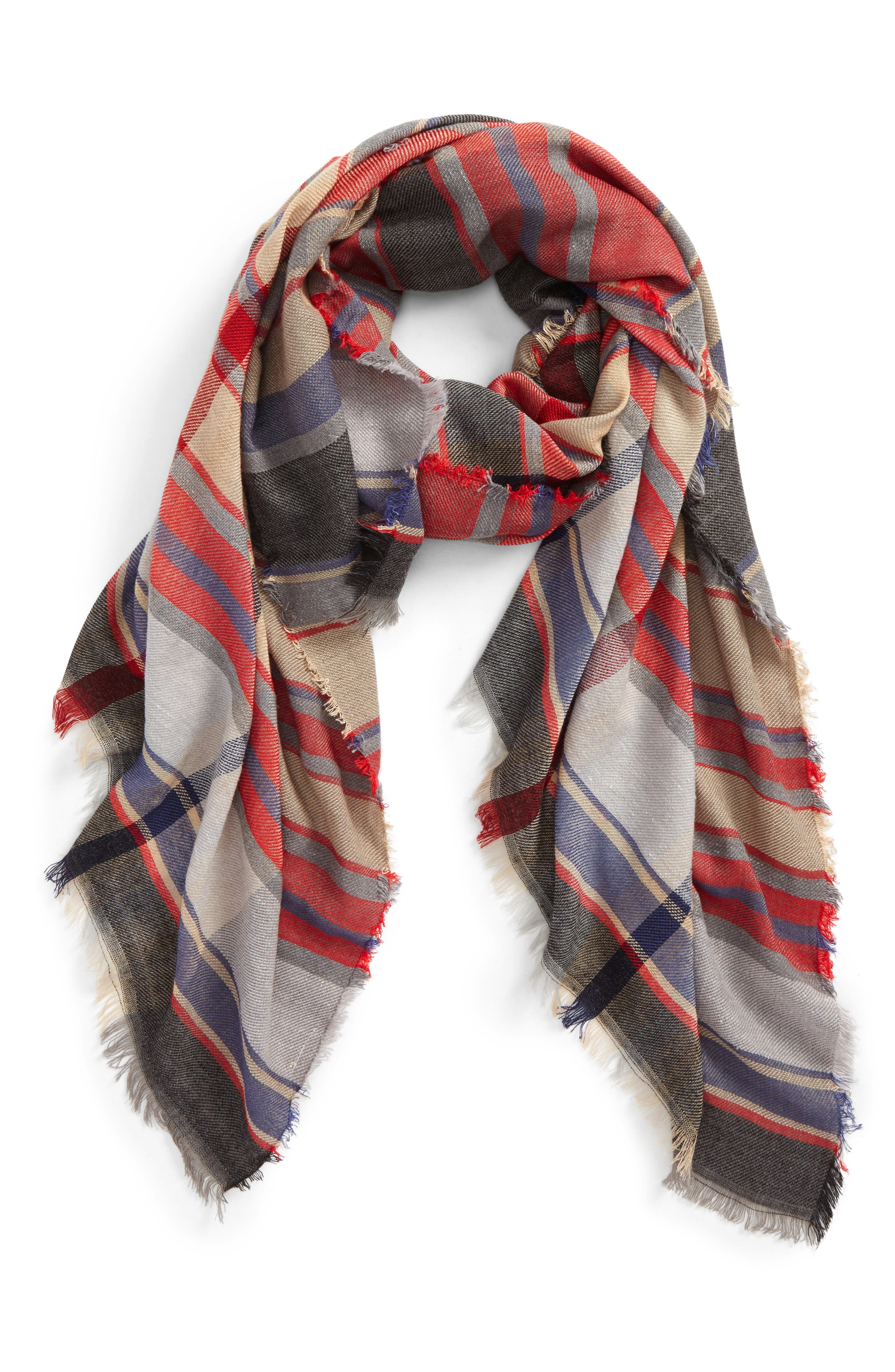 BP., Plaid Oblong Scarf, Main thumbnail 1, color, 600