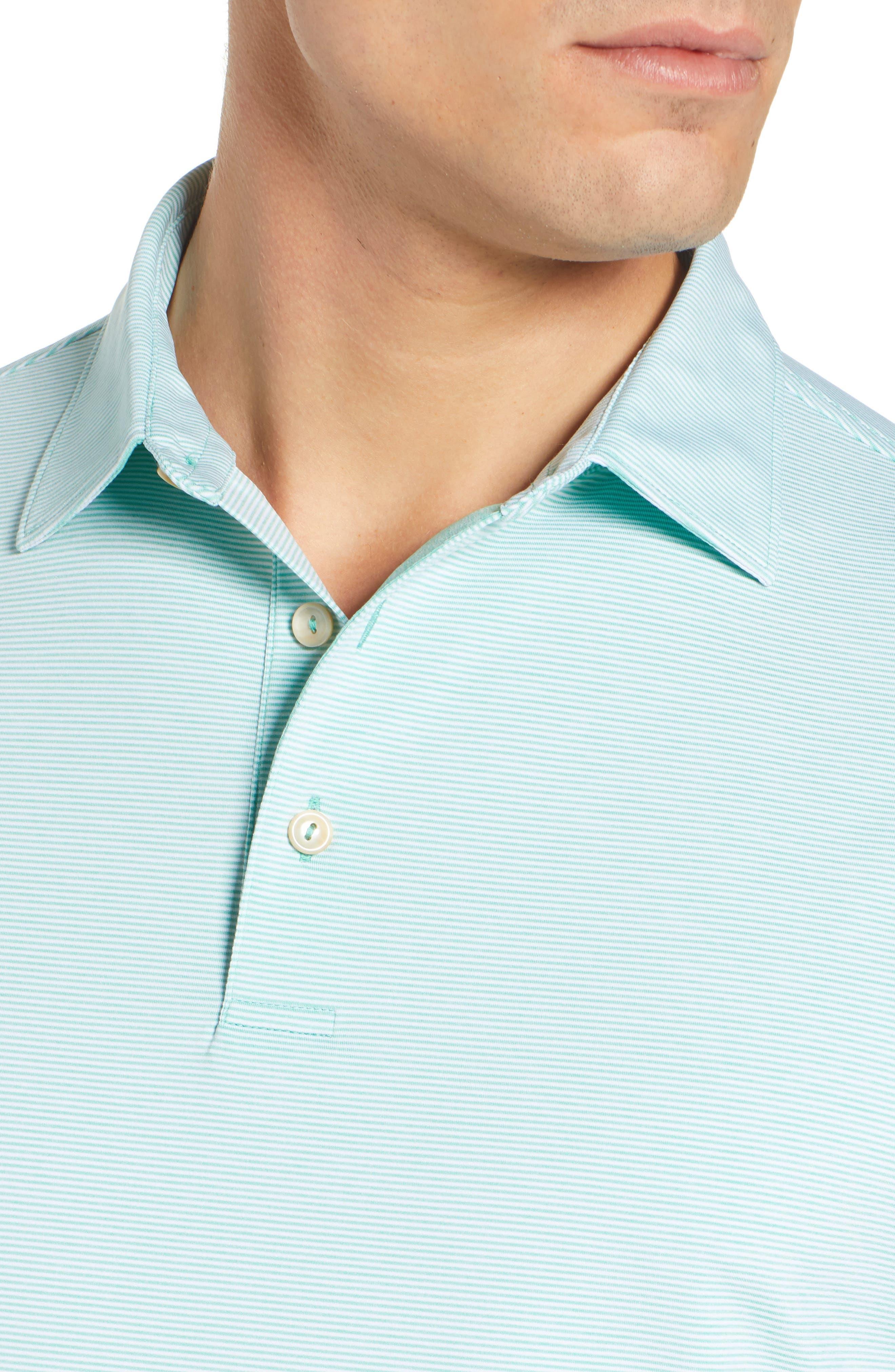 PETER MILLAR, Jubilee Stripe Jersey Polo, Alternate thumbnail 4, color, MEADOW