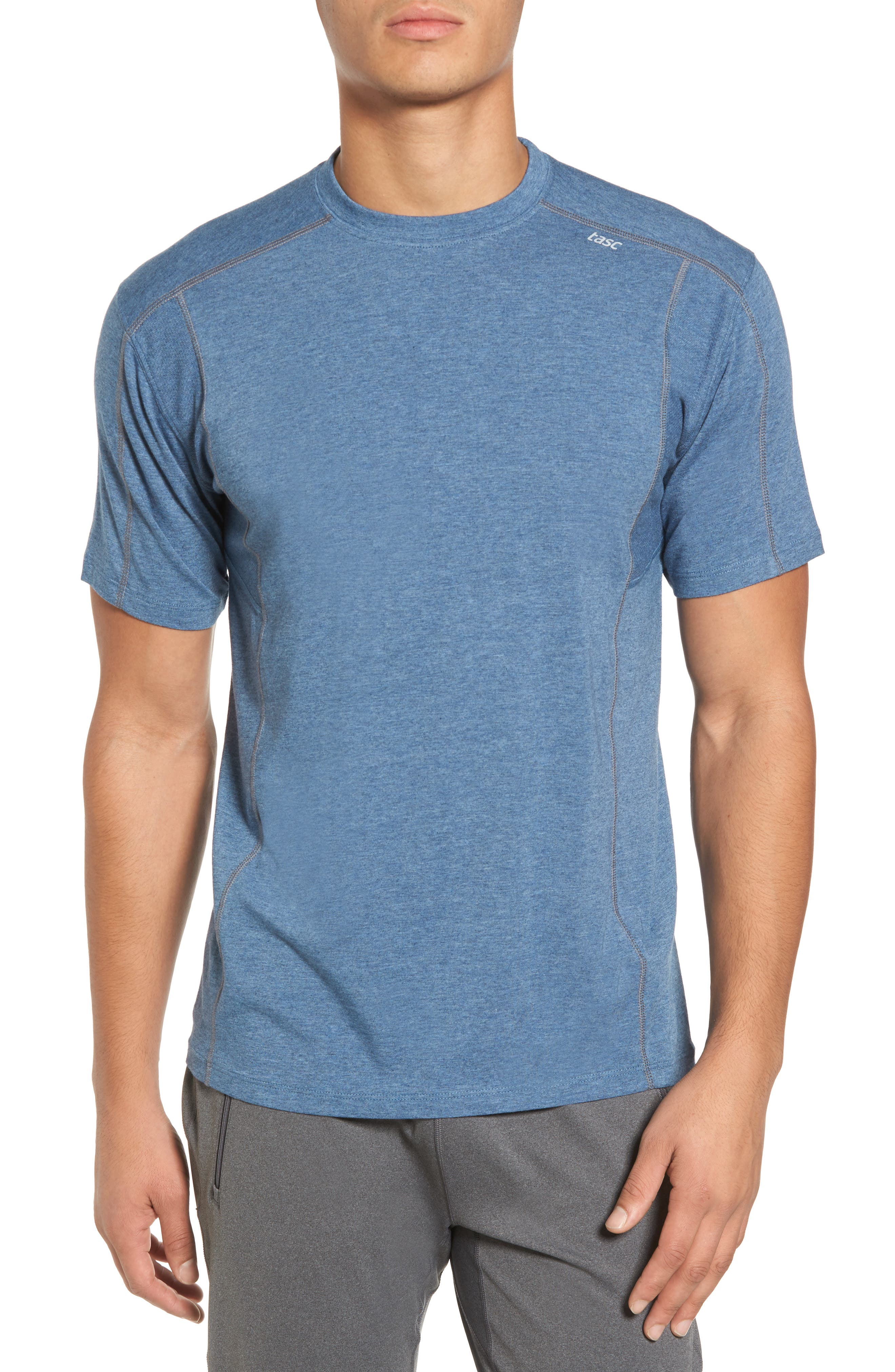 TASC PERFORMANCE, Charge Semi-Fitted T-Shirt, Main thumbnail 1, color, INDIGO HEATHER