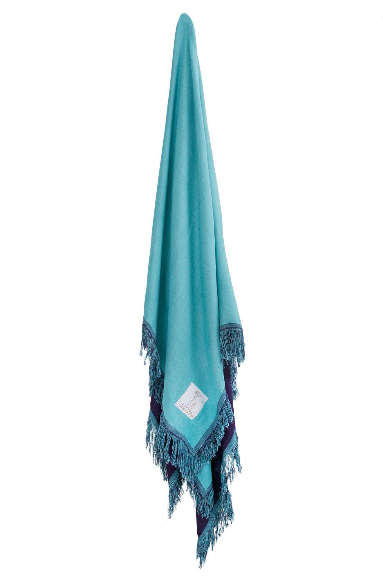 LITTLE GIRAFFE, Marrakech Fringe Blanket, Main thumbnail 1, color, DENIM/ TEAL