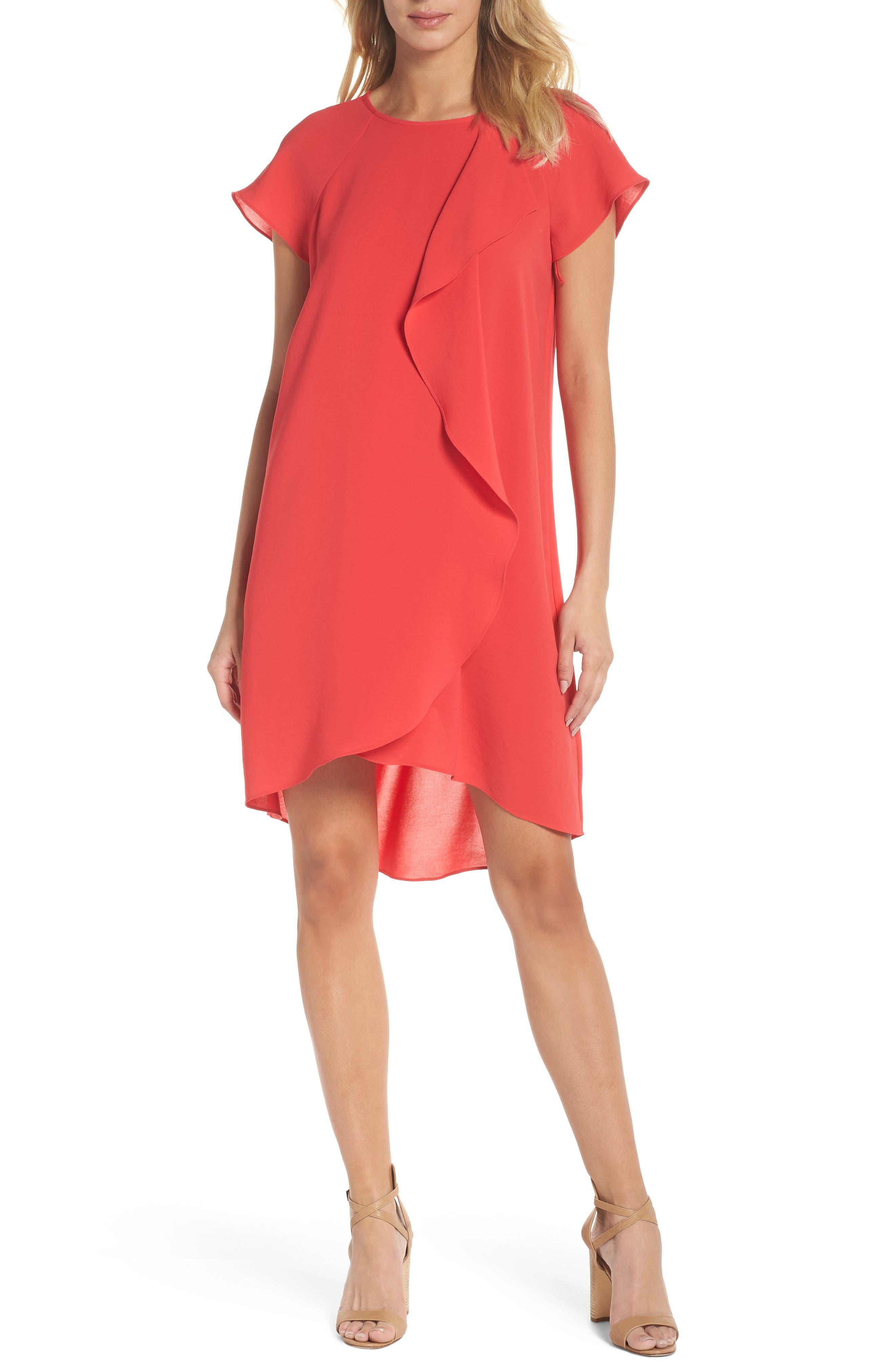 ADRIANNA PAPELL, Crepe Shift Dress, Main thumbnail 1, color, 650