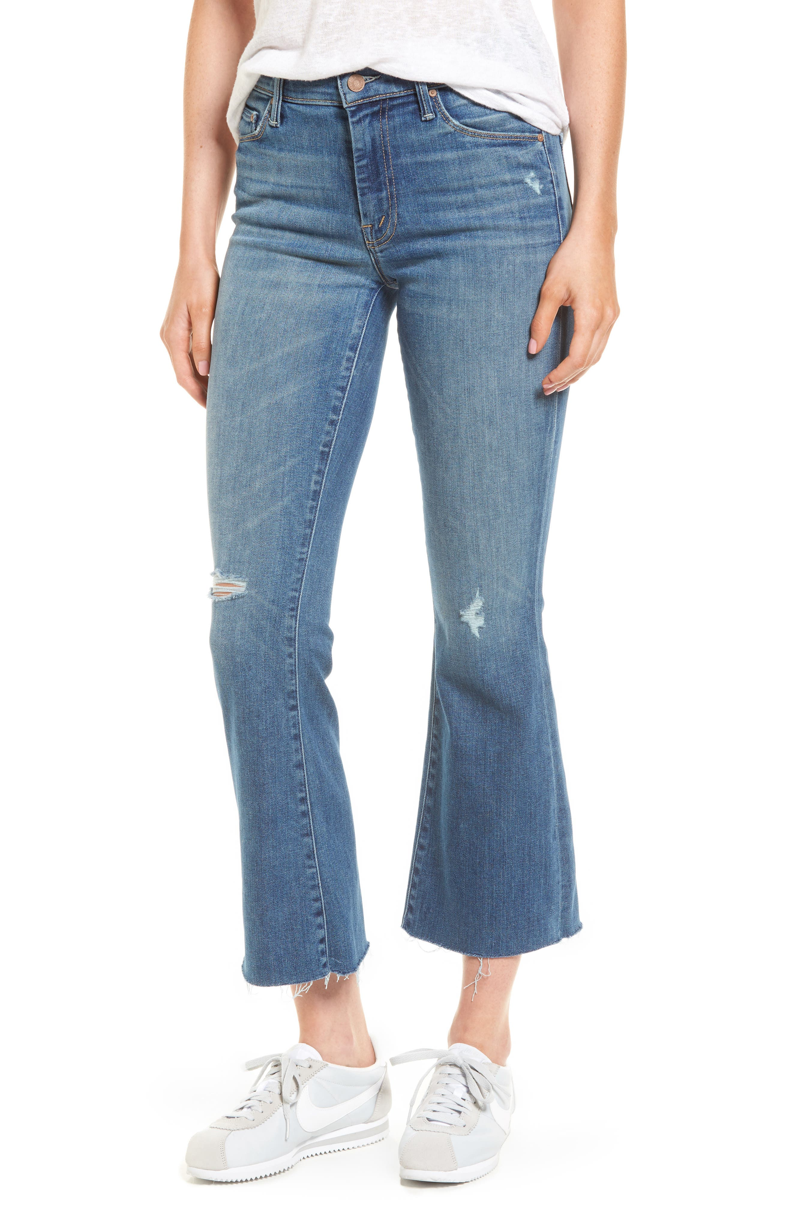 MOTHER, Frayed Ankle Jeans, Main thumbnail 1, color, 420