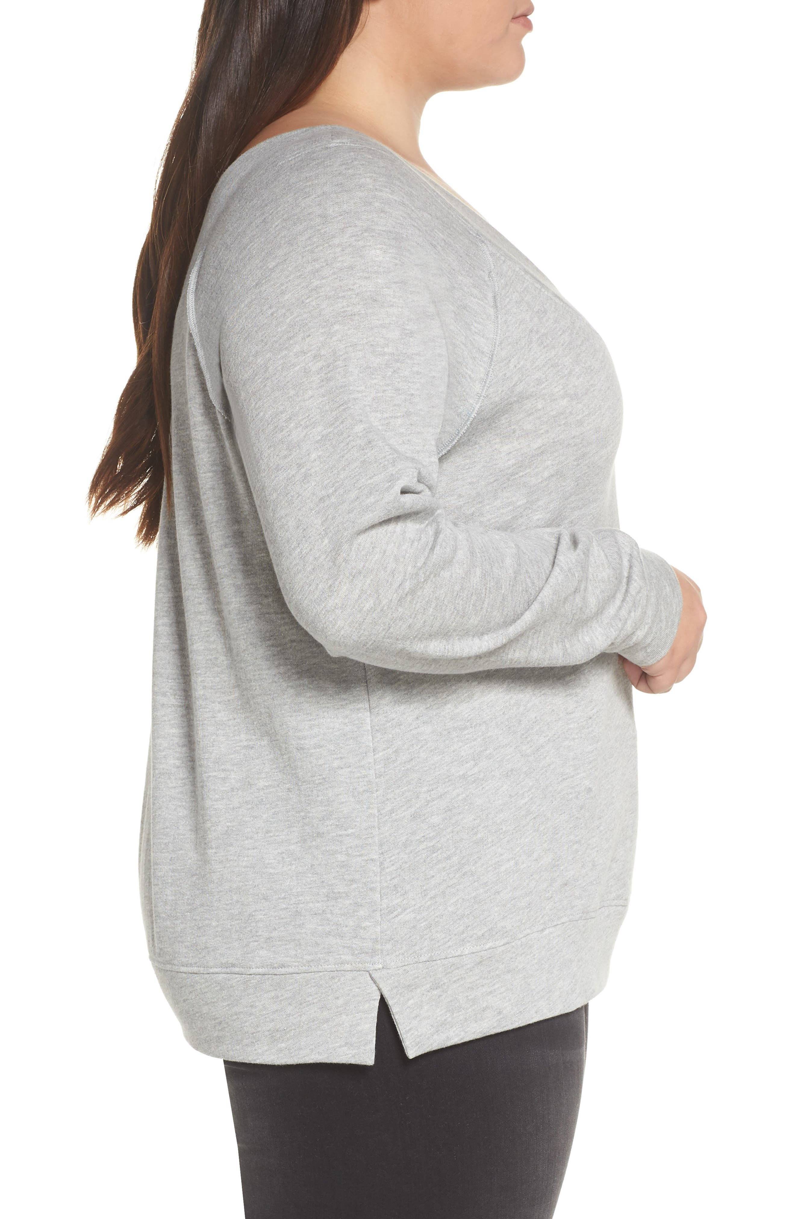 BP., Double V-neck Sweatshirt, Alternate thumbnail 9, color, GREY PEARL HEATHER