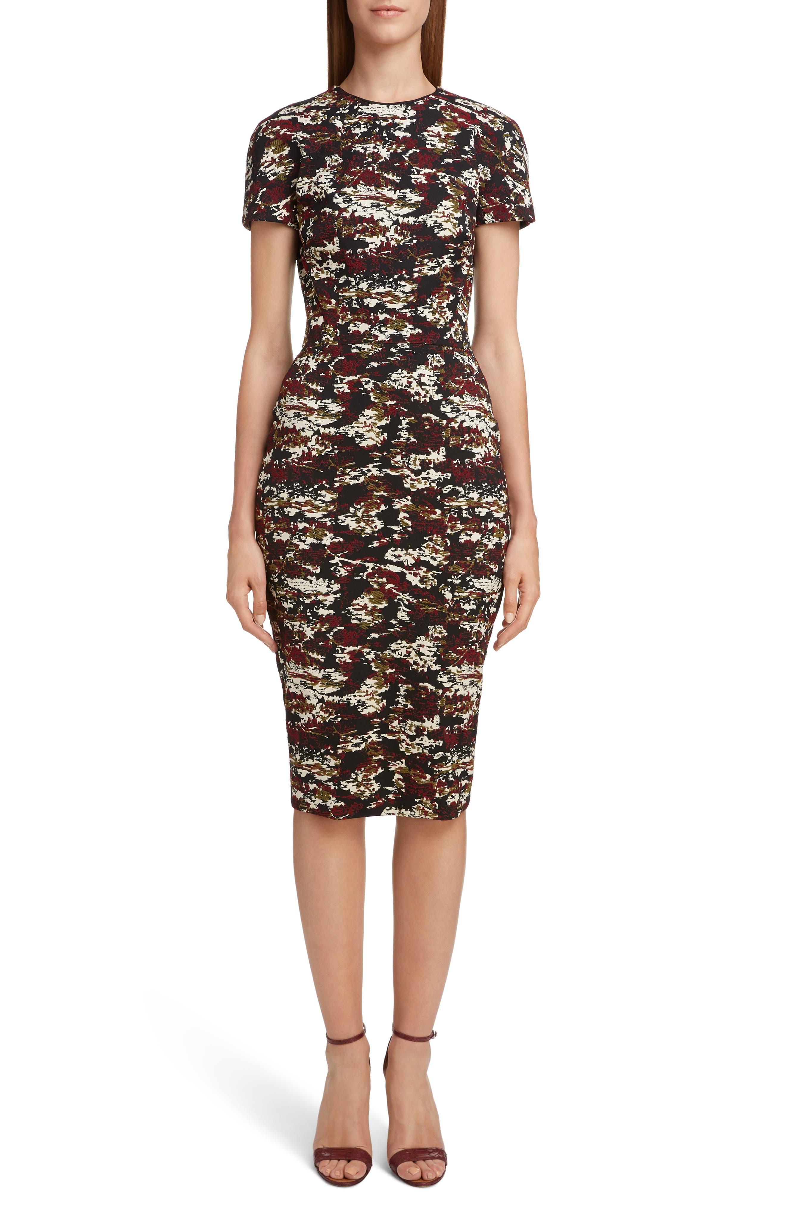 VICTORIA BECKHAM, Camouflage Jacquard Dress, Main thumbnail 1, color, BORDEAUX-BLACK
