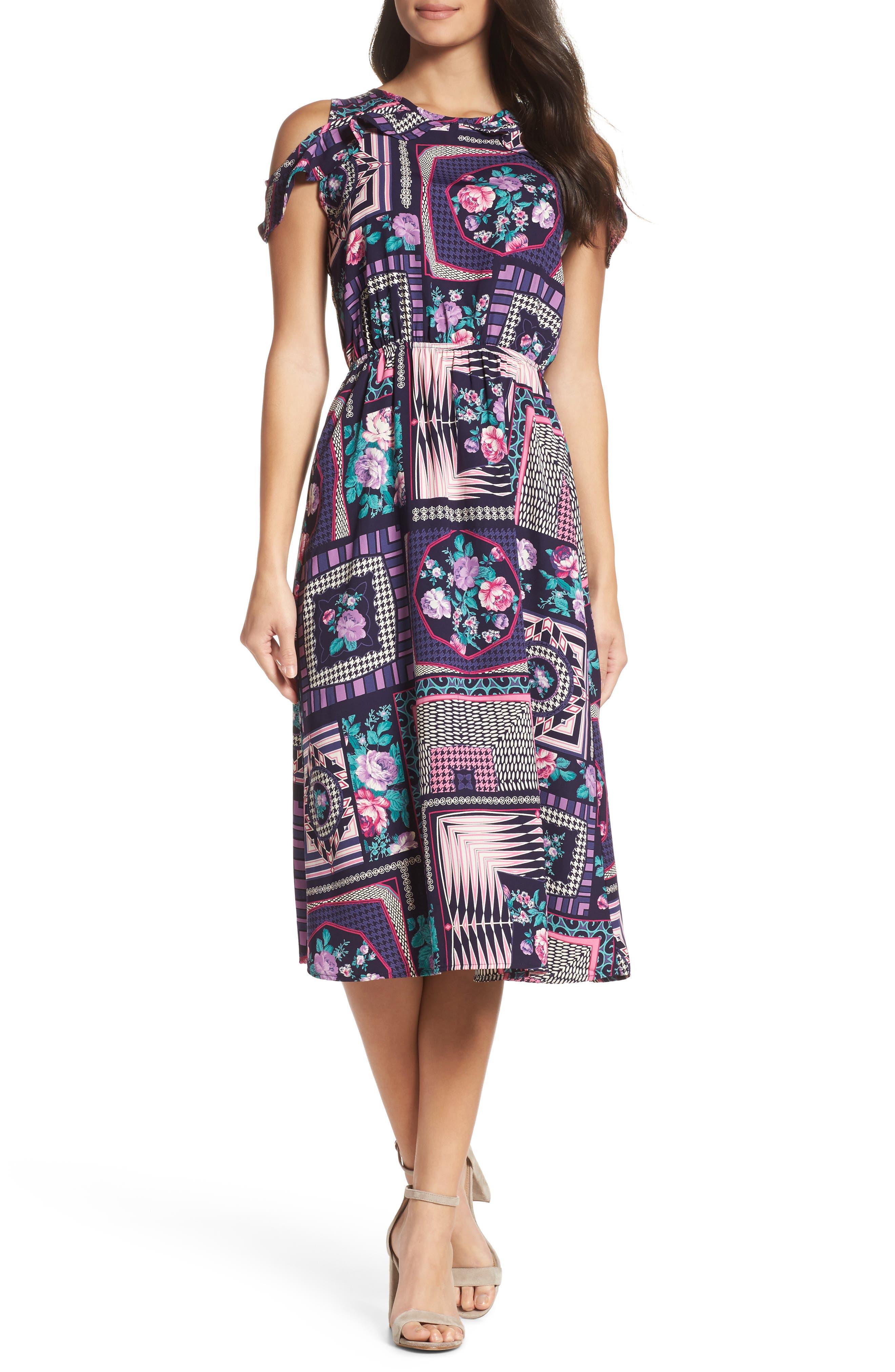FRAICHE BY J, Ruffle Cold Shoulder Dress, Main thumbnail 1, color, CASSIE