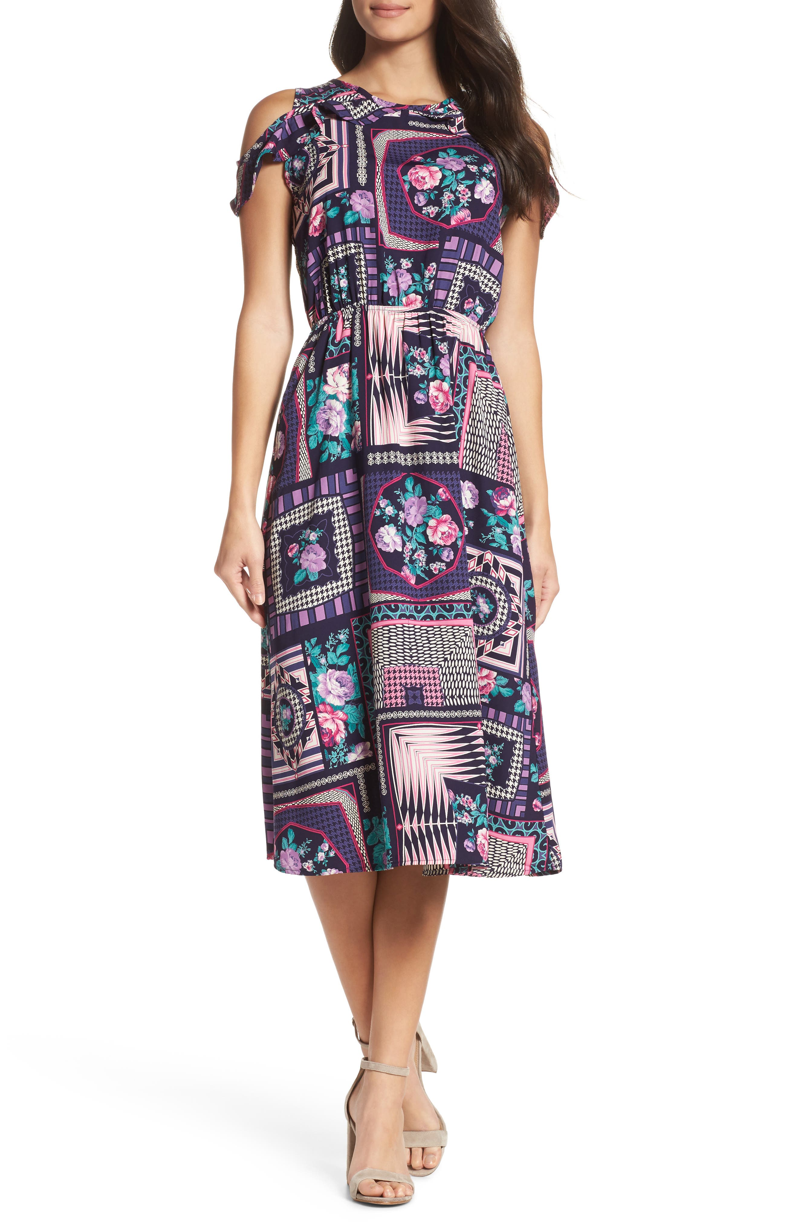 FRAICHE BY J Ruffle Cold Shoulder Dress, Main, color, CASSIE