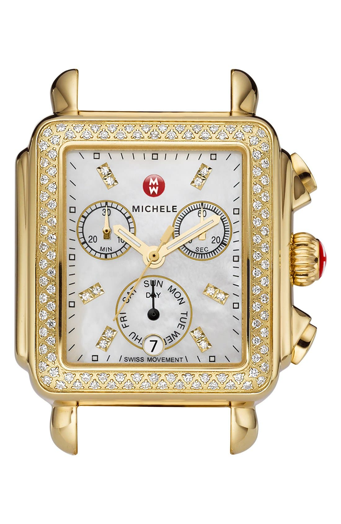 MICHELE Deco Diamond Diamond Dial Gold Plated Watch Case, 33mm x 35mm, Main, color, GOLD