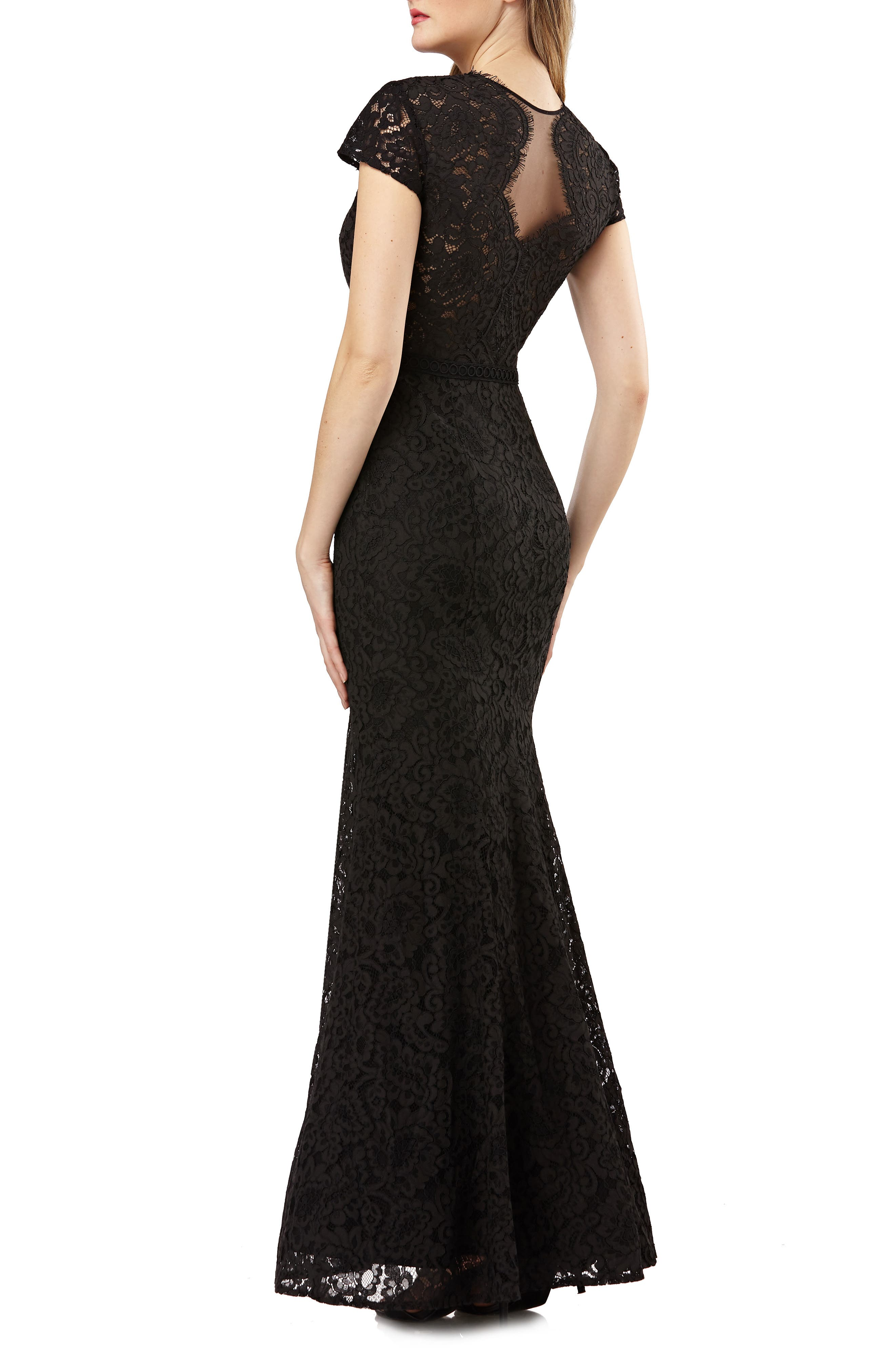JS COLLECTIONS, Lace Mermaid Gown, Alternate thumbnail 2, color, 001
