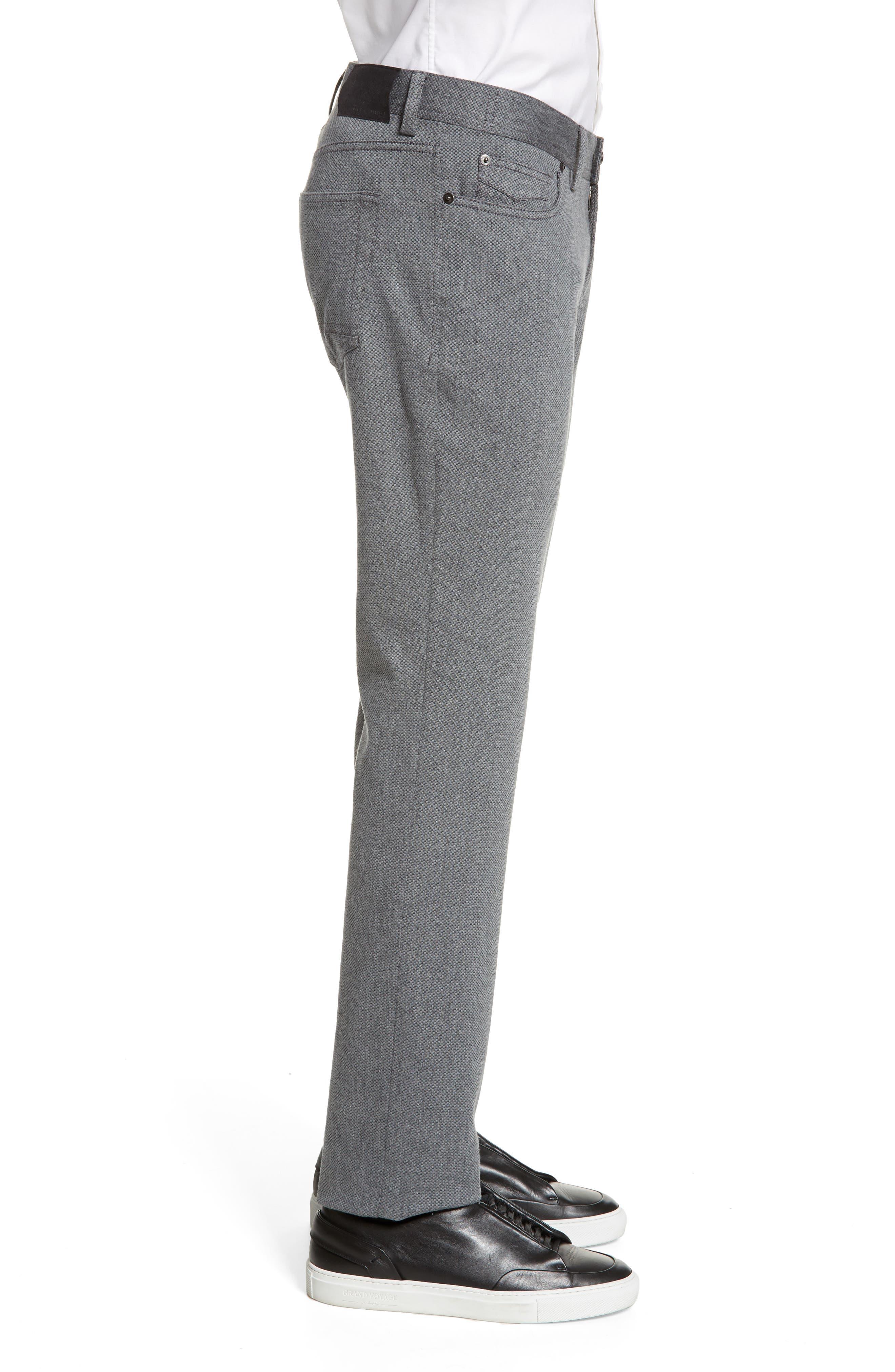 VINCE CAMUTO, Straight Leg Five Pocket Stretch Pants, Alternate thumbnail 3, color, HEATHER CHARCOAL CROSSHATCH