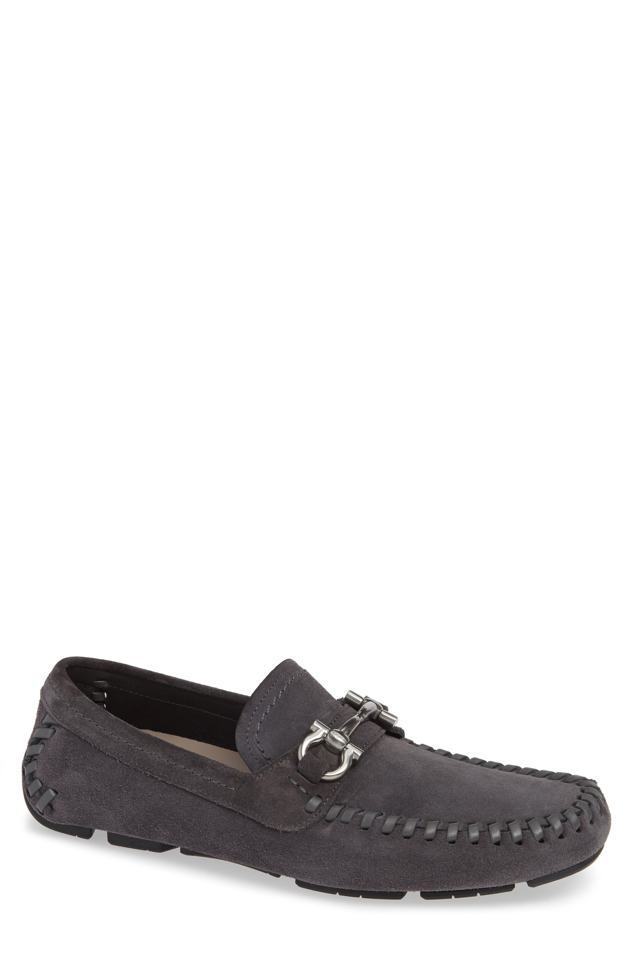 SALVATORE FERRAGAMO, Parigi Bit Driving Moccasin, Main thumbnail 1, color, ASFALTO NERO