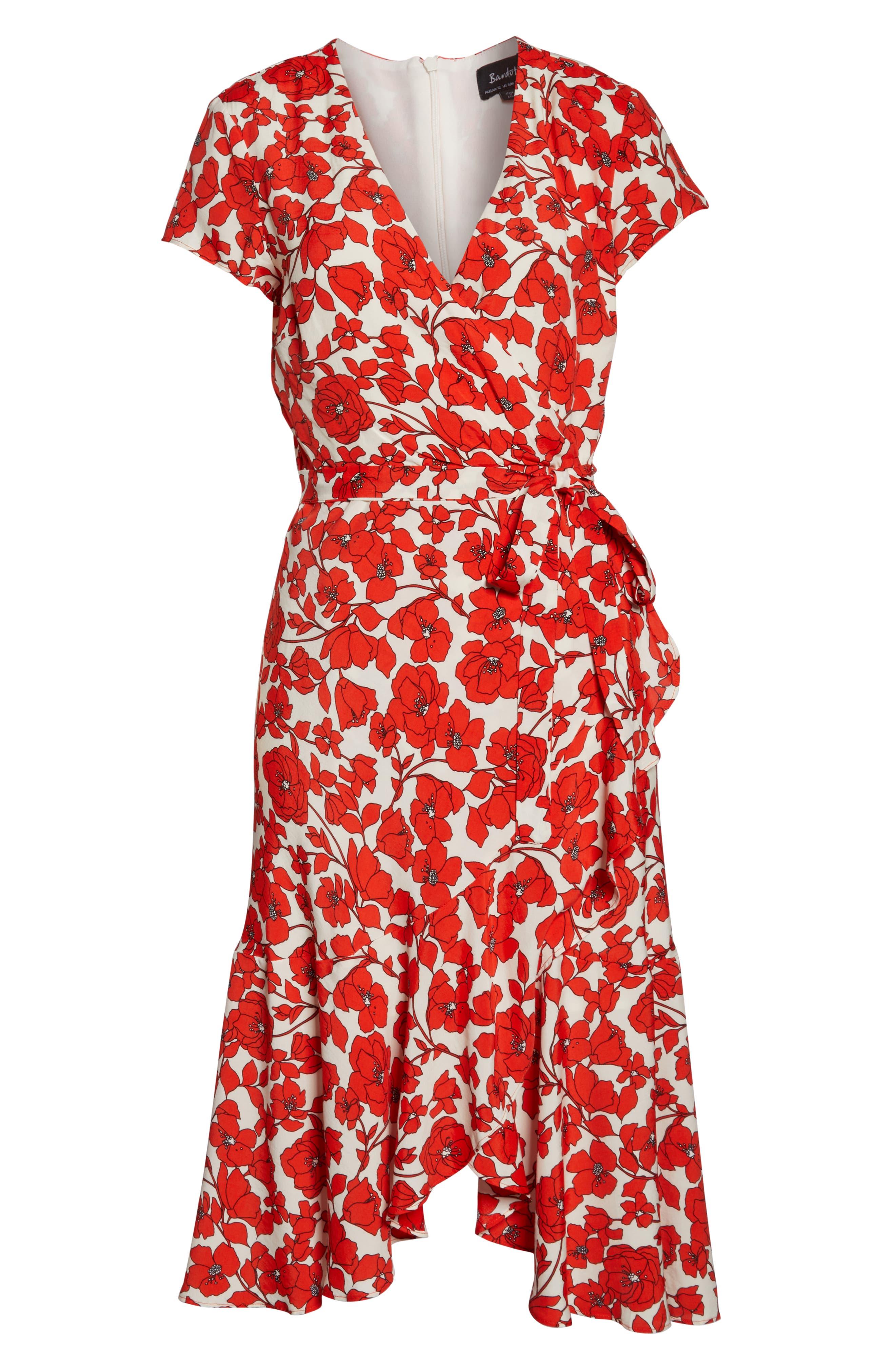 BARDOT, Fiesta Floral Midi Dress, Alternate thumbnail 6, color, 800