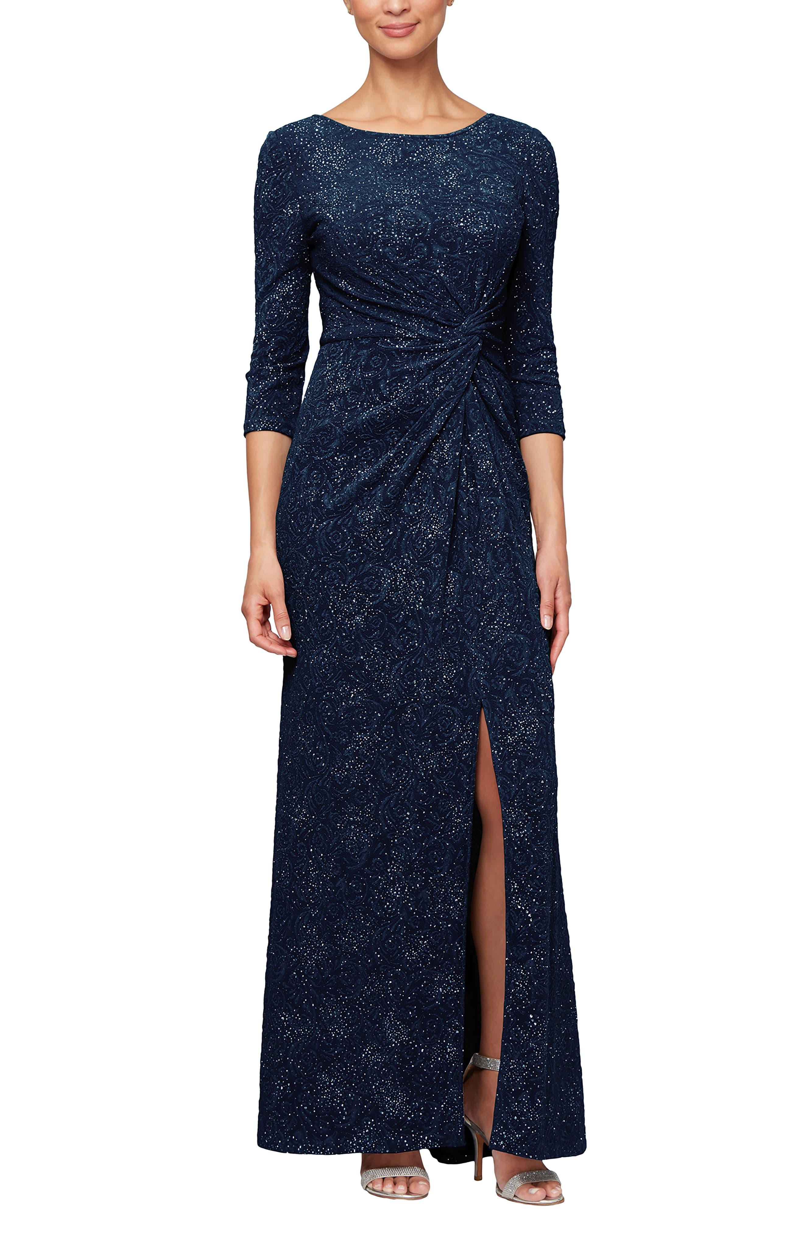 ALEX EVENINGS, Knot Front Sequin Jacquard Evening Dress, Alternate thumbnail 6, color, NAVY