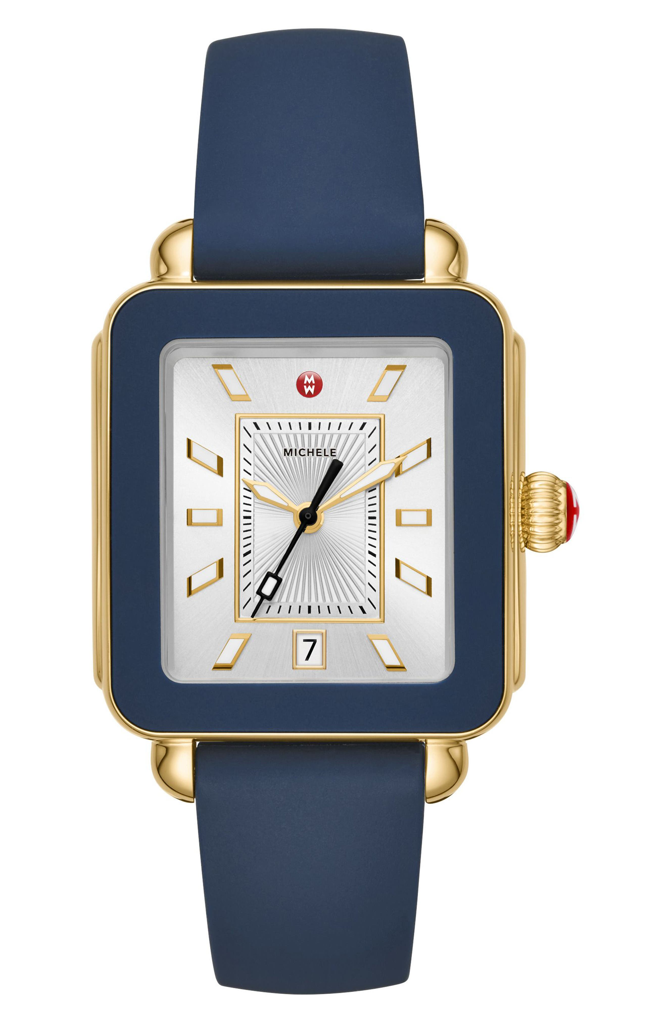 MICHELE Deco Sport Watch Head & Silicone Strap Watch, 34mm x 36mm, Main, color, BLUE/ SILVER/ GOLD