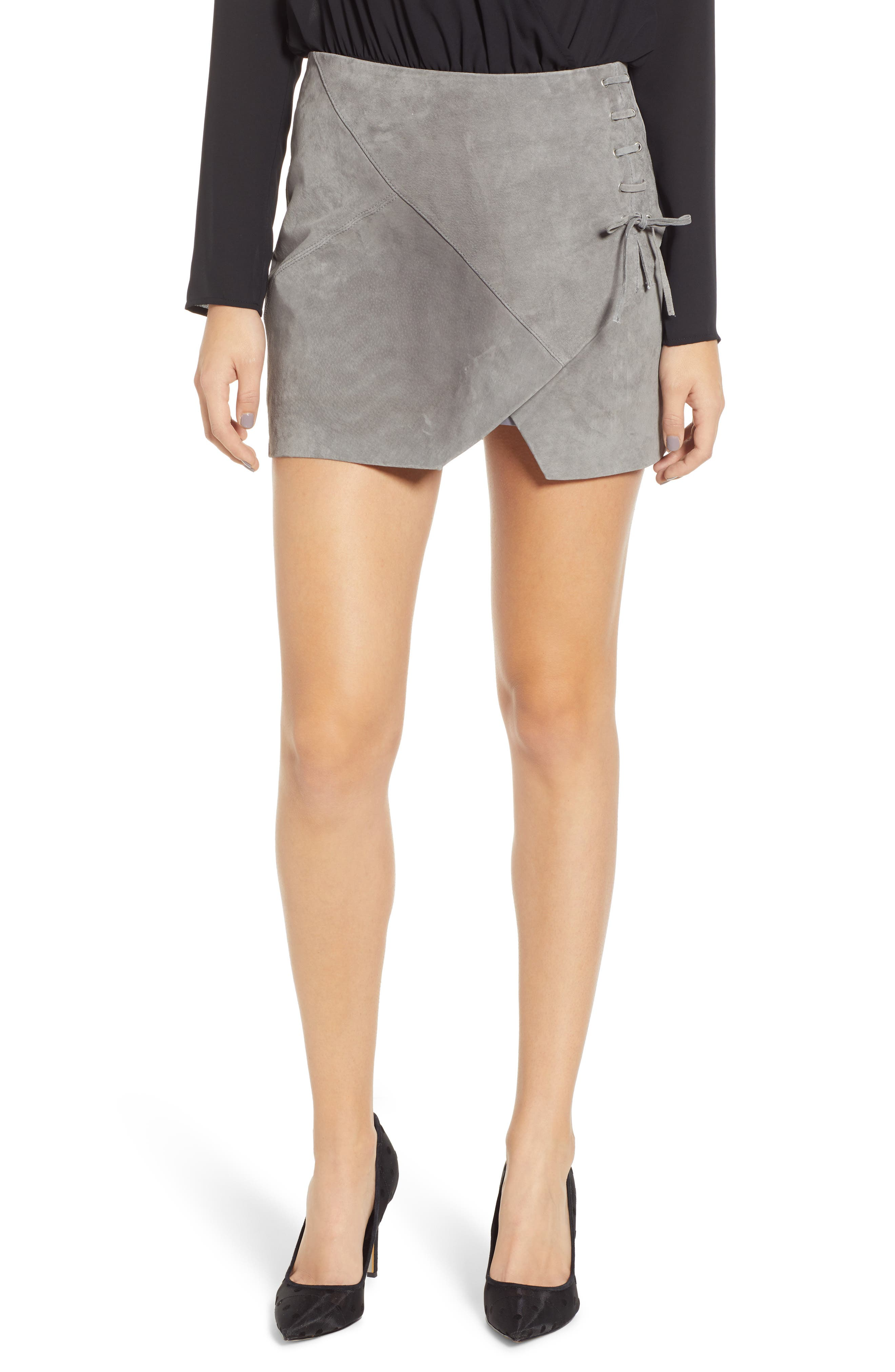 BLANKNYC Lace-Up Suede Miniskirt, Main, color, SOFT FOG