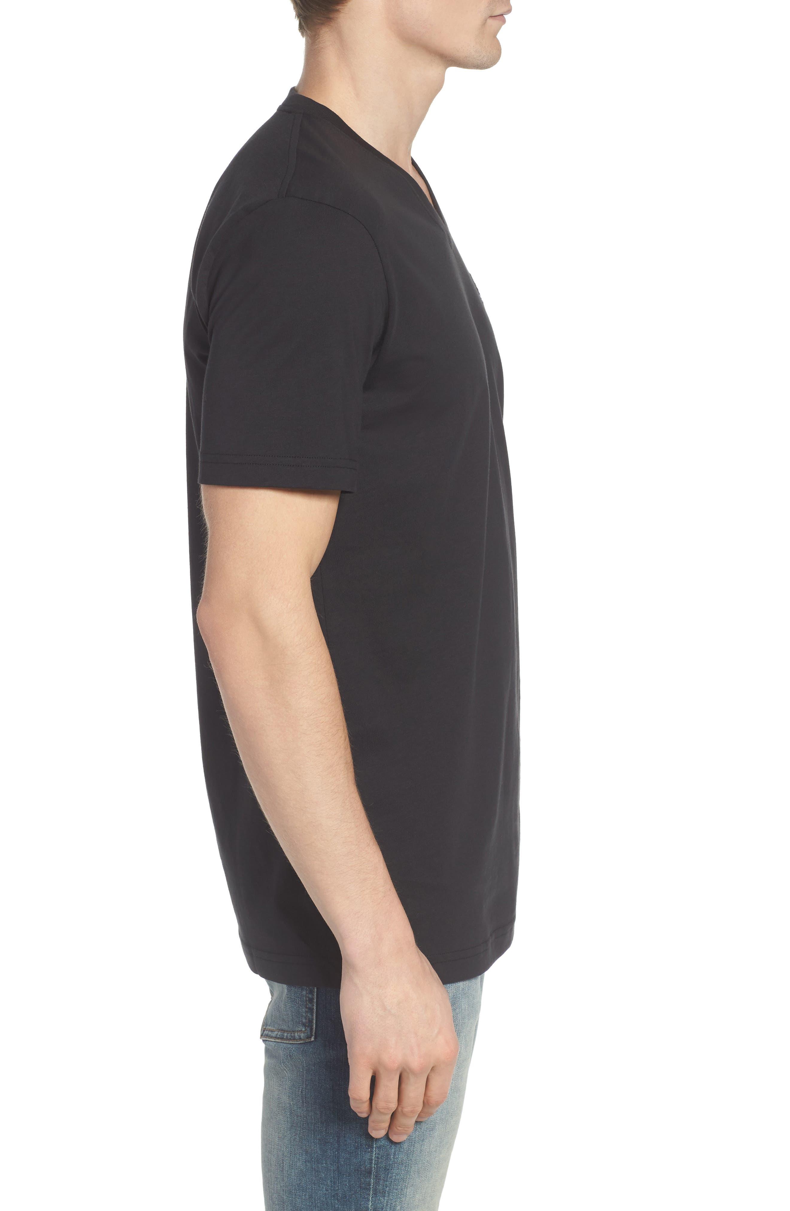 PSYCHO BUNNY, V-Neck T-Shirt, Alternate thumbnail 3, color, BLACK