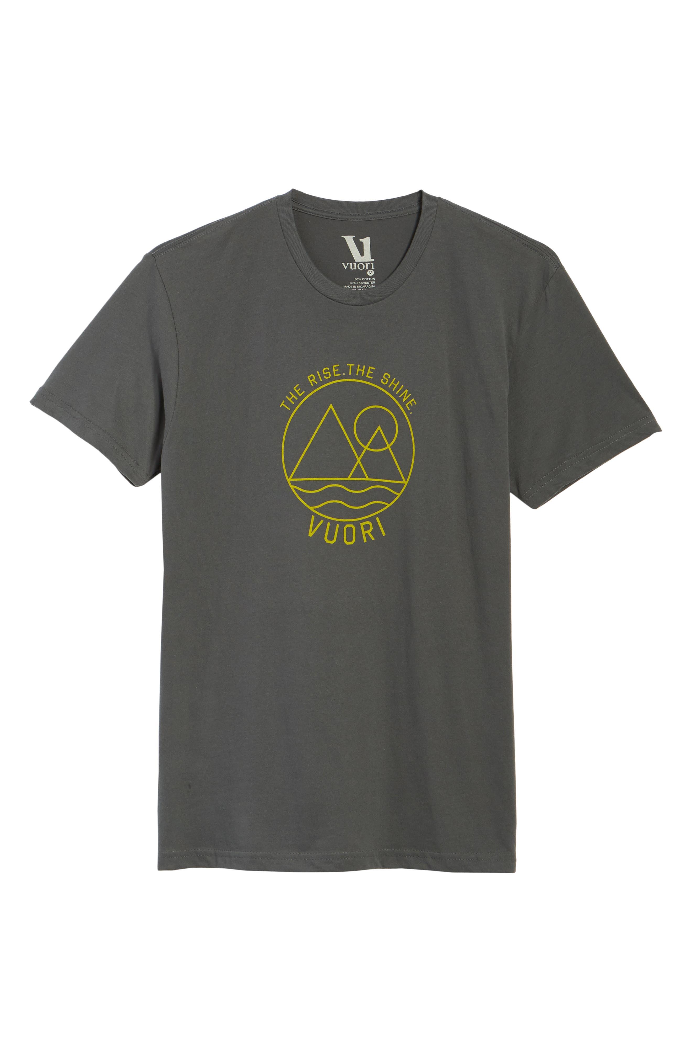 VUORI, The Rise The Shine Graphic T-Shirt, Alternate thumbnail 6, color, CHARCOAL