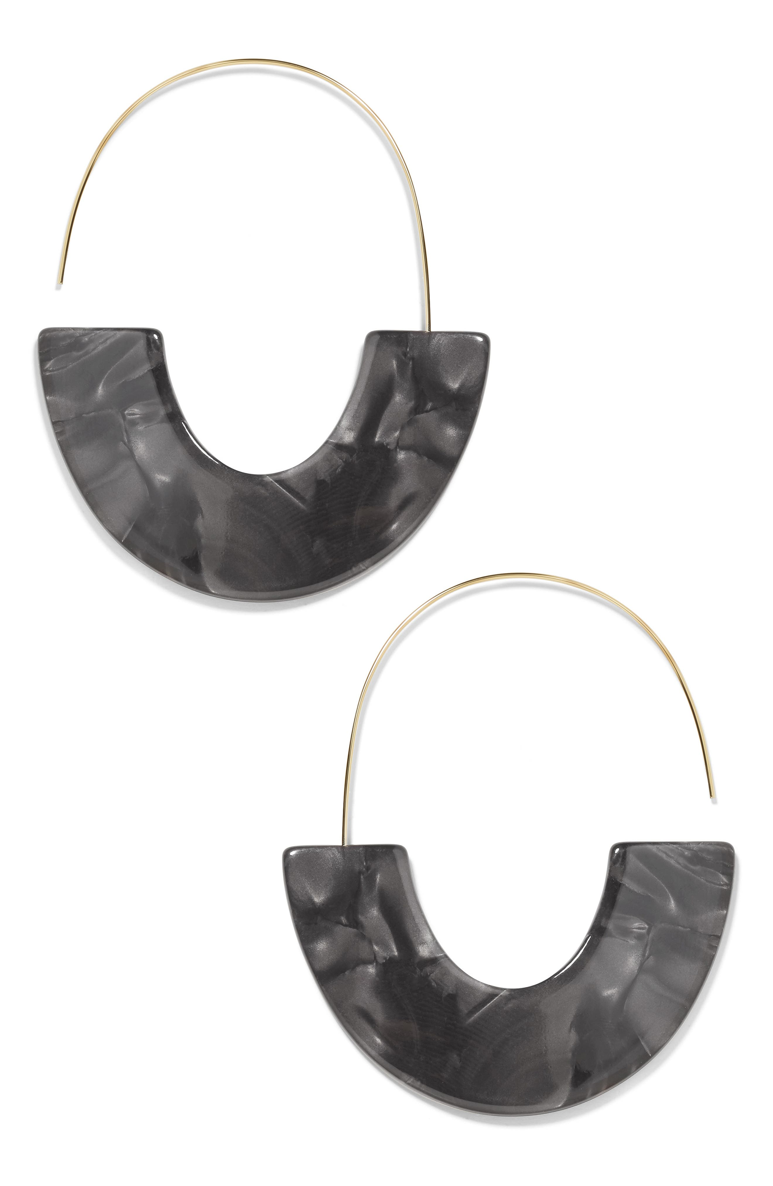 BAUBLEBAR, Faidra Thin Drop Acrylic Oval Hoop Earrings, Main thumbnail 1, color, BLACK