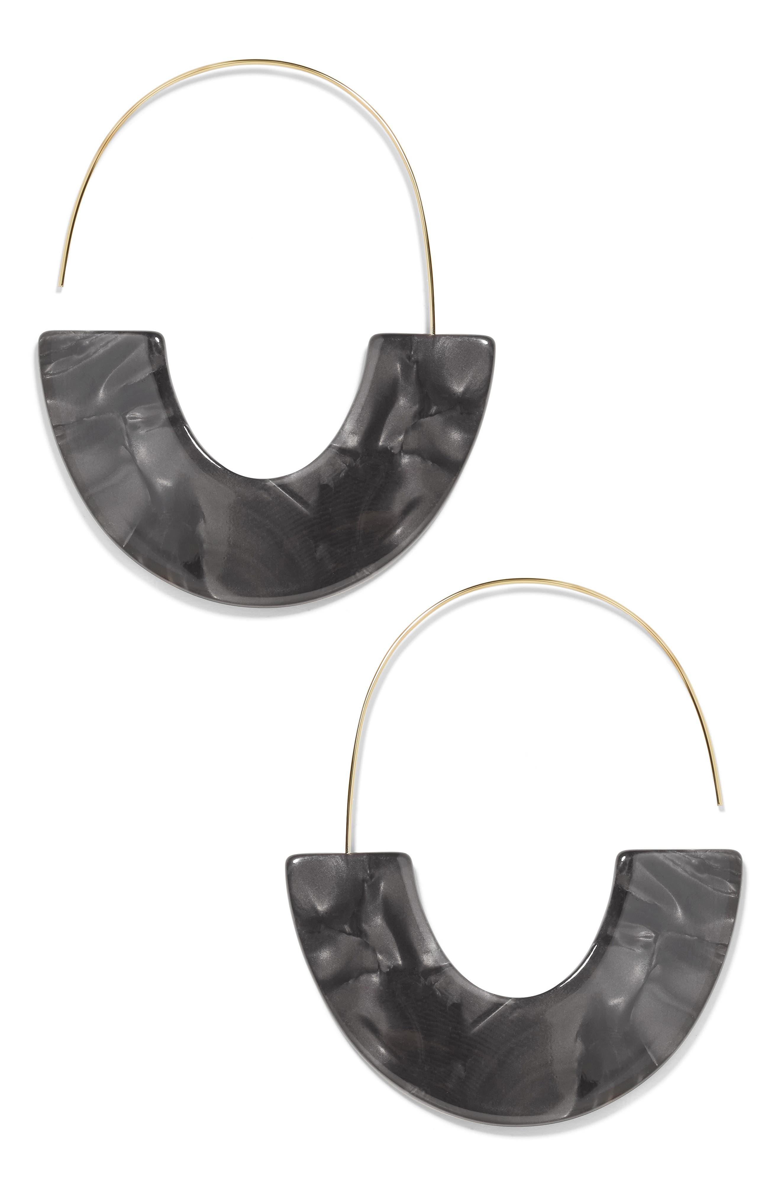 BAUBLEBAR Faidra Thin Drop Acrylic Oval Hoop Earrings, Main, color, BLACK