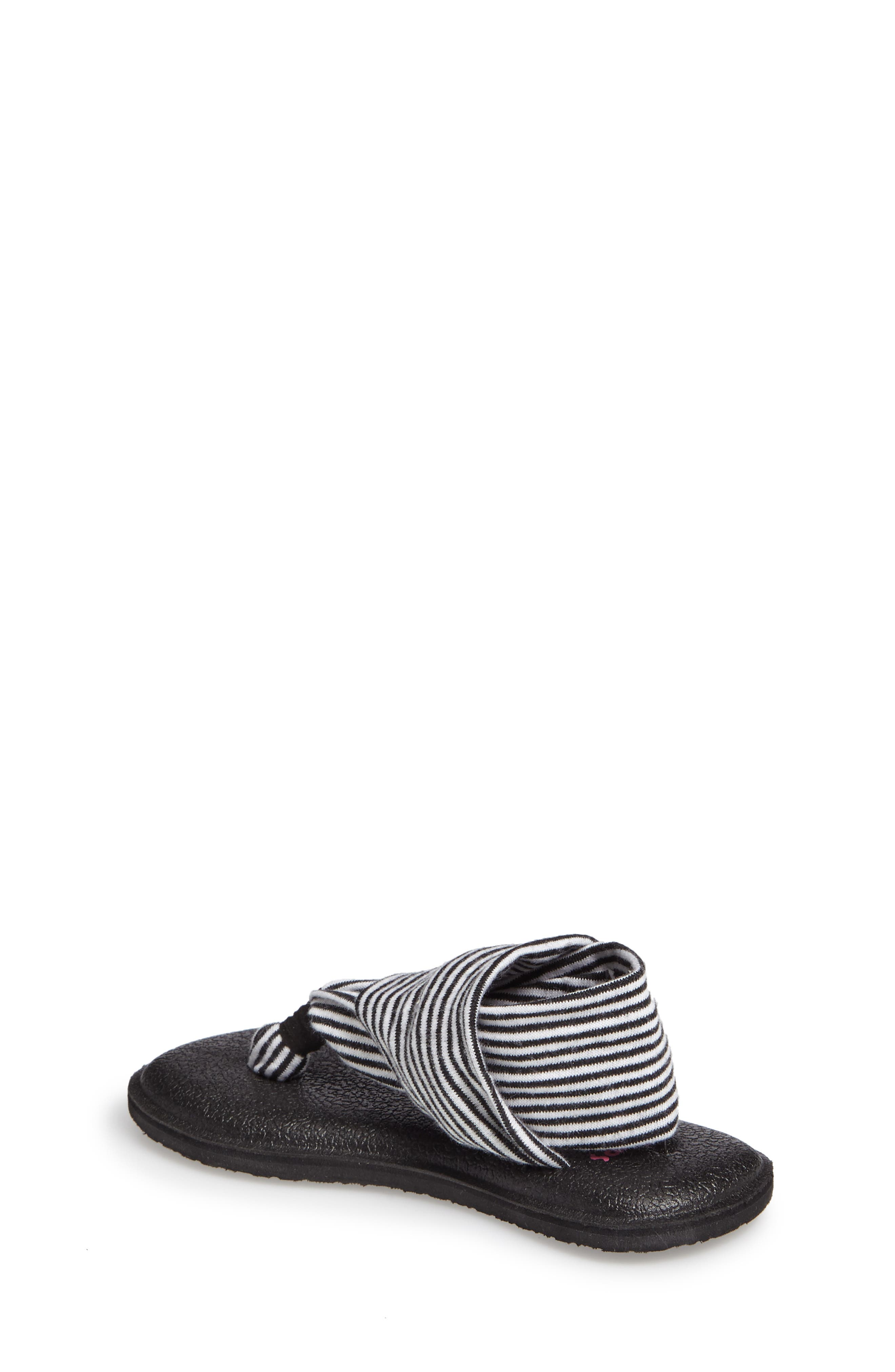SANUK, 'Yoga Sling' Sandal, Alternate thumbnail 2, color, BLACK/ WHITE STRIPE