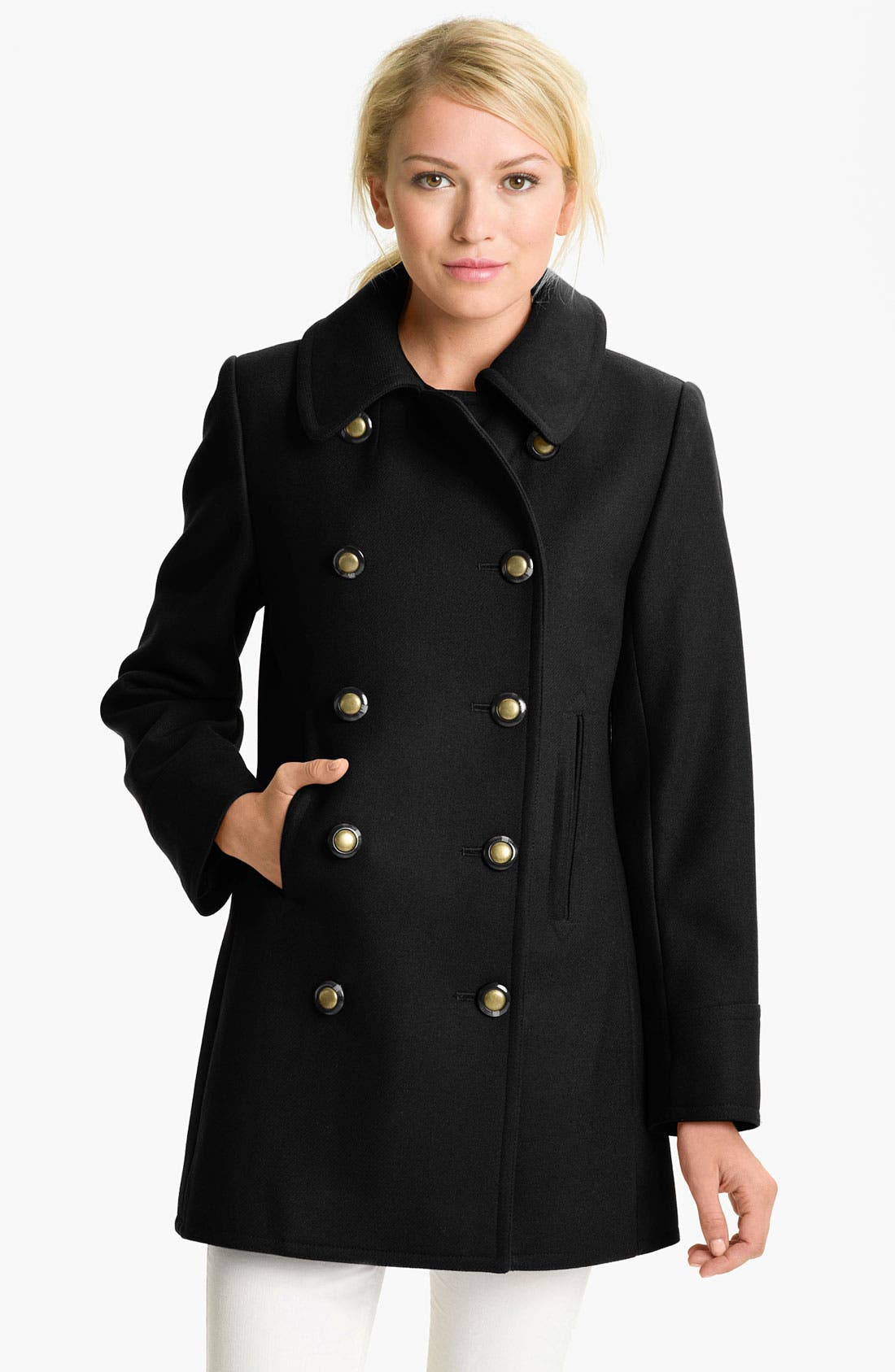 KRISTEN BLAKE, Double Breasted Peacoat, Main thumbnail 1, color, 001