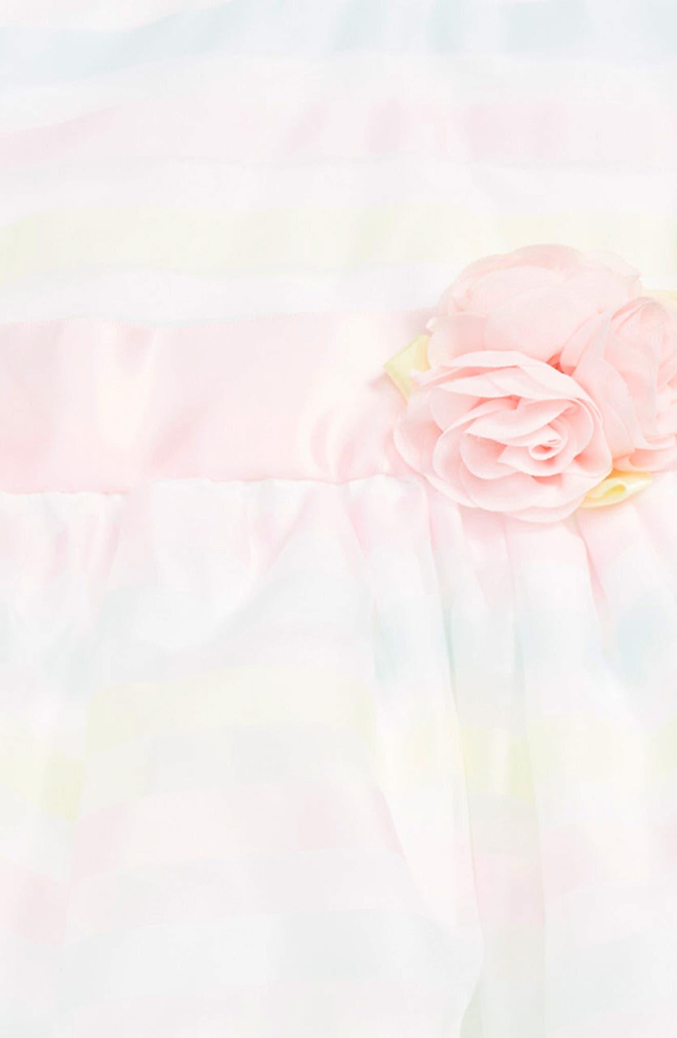 LITTLE ME, Stripe Organza Dress, Alternate thumbnail 2, color, MULTI STRIPE