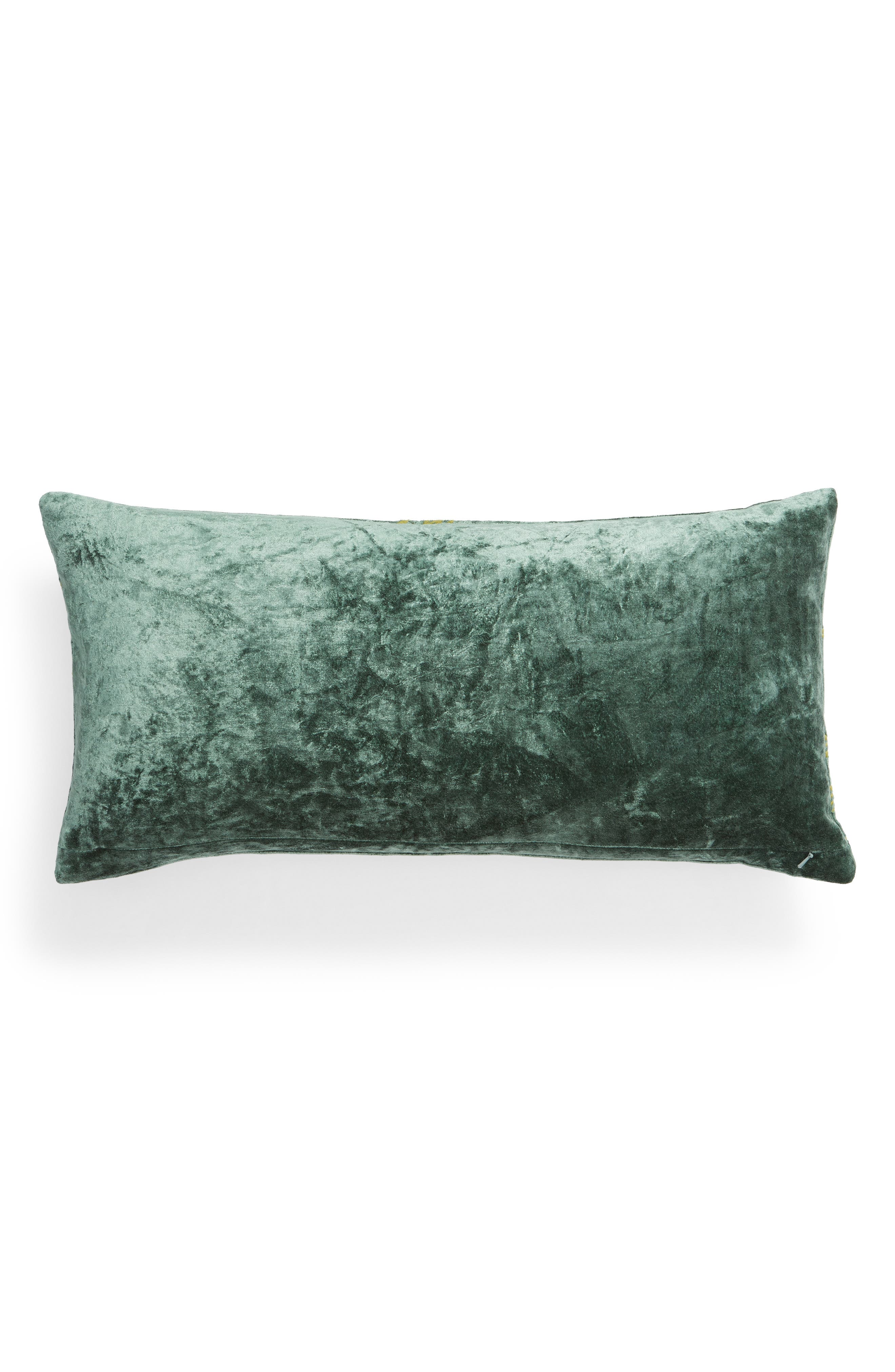TREASURE & BOND, Stonewashed Embroidered Velveteen Accent Pillow, Alternate thumbnail 2, color, GREEN SHORE MULTI
