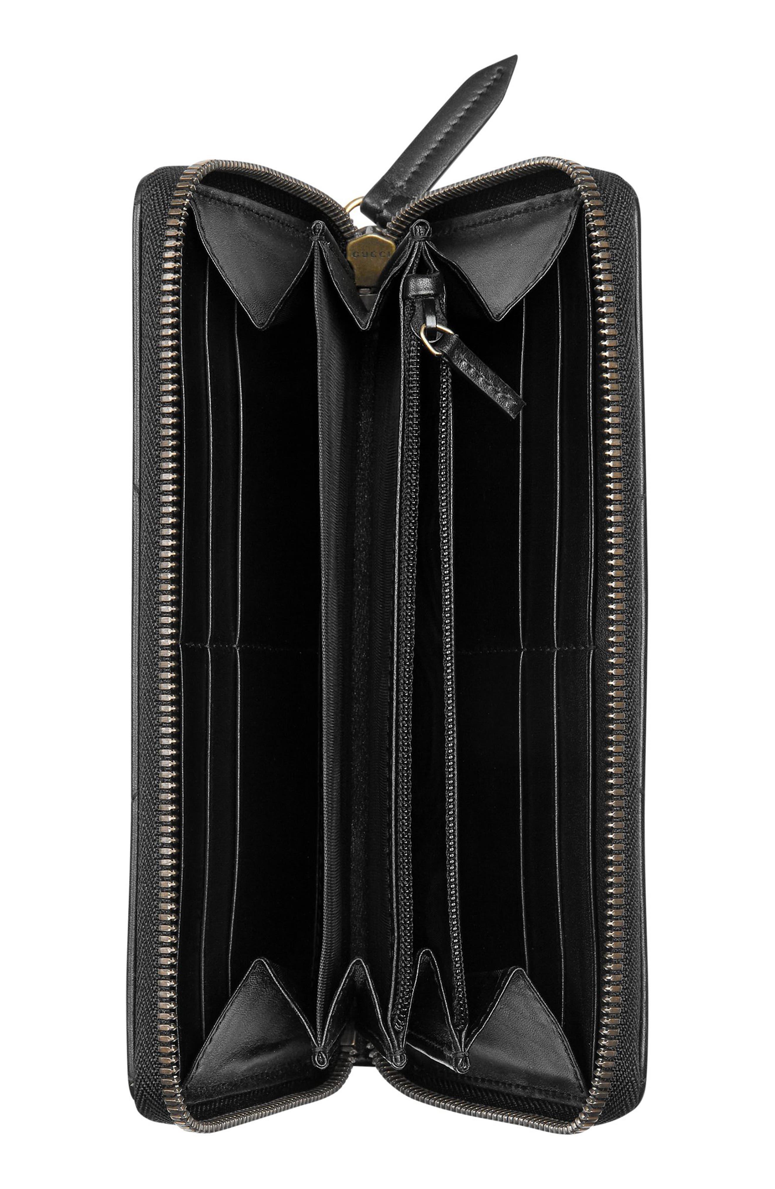 GUCCI, GG Marmont Matelassé Leather Zip-Around Wallet, Alternate thumbnail 2, color, NERO