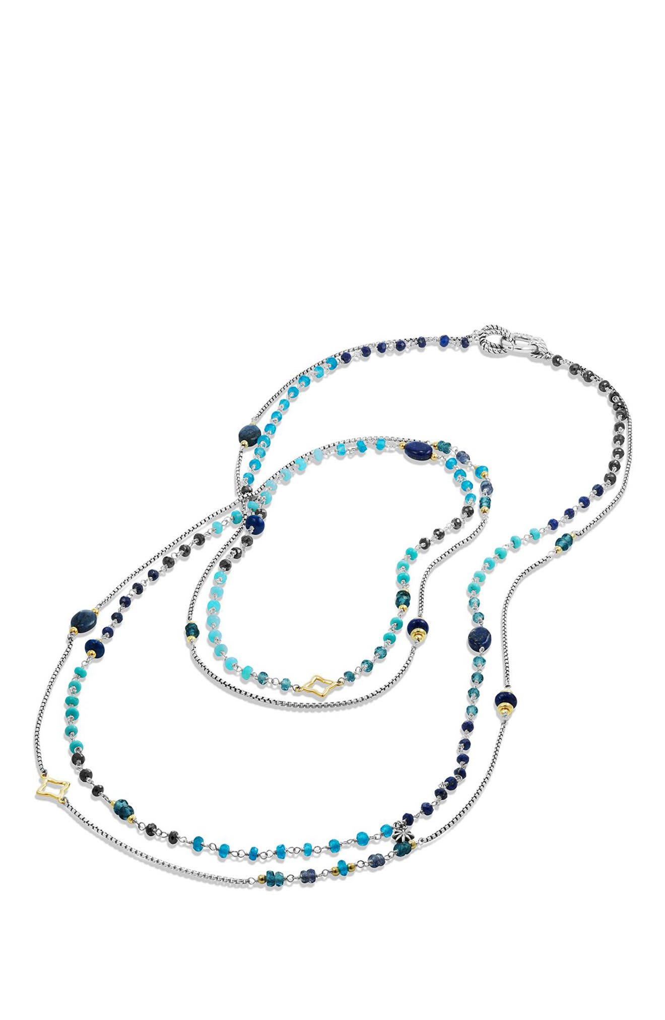 DAVID YURMAN, 'Bead and Chain' Bead Necklace with Carnelian, Garnet & 18K Gold, Alternate thumbnail 4, color, SILVER/ GOLD/ BLUE MULTI