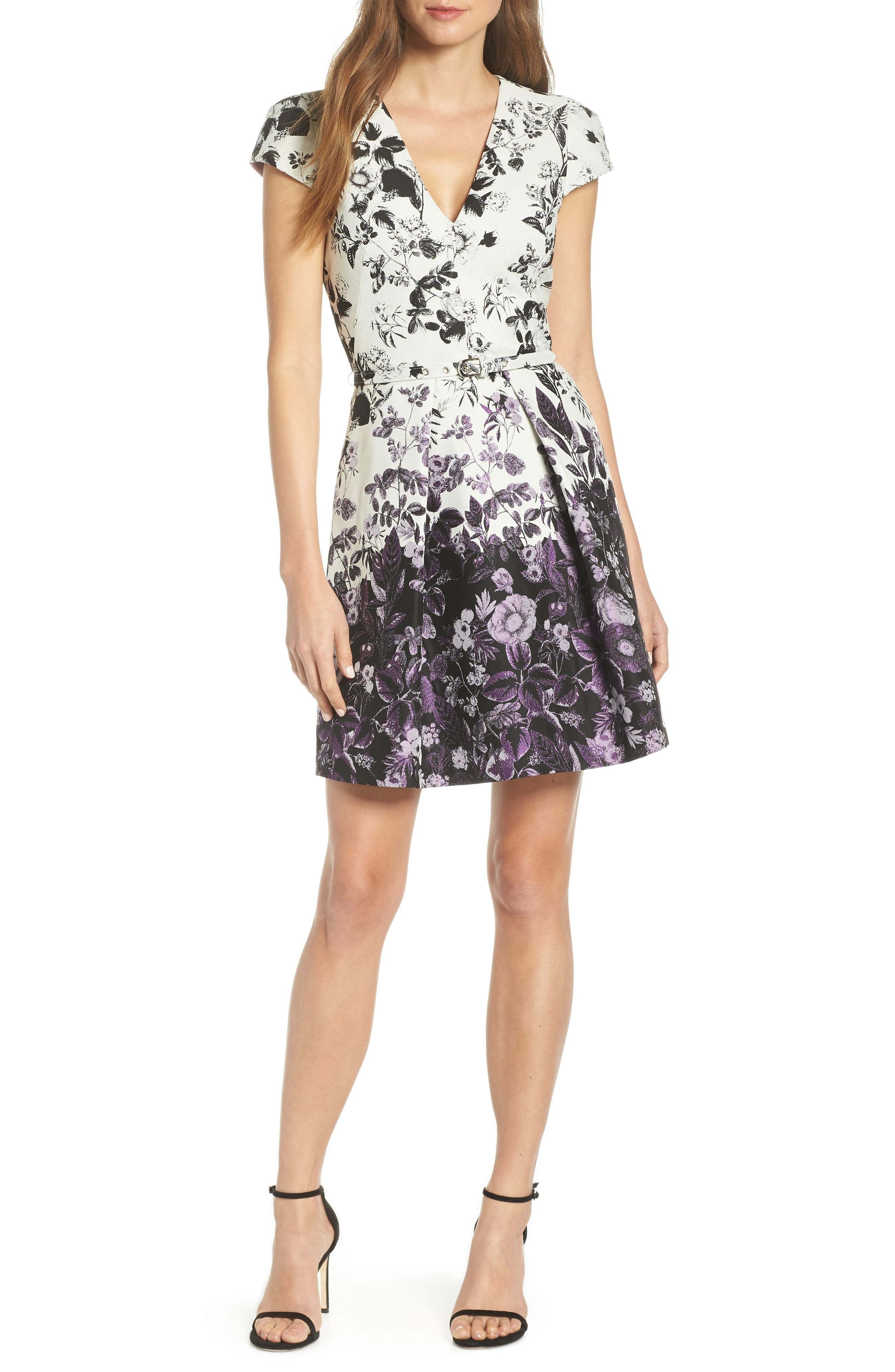 VINCE CAMUTO, Floral Jacquard Fit and Flare Dress, Main thumbnail 1, color, PURPLE MULTI