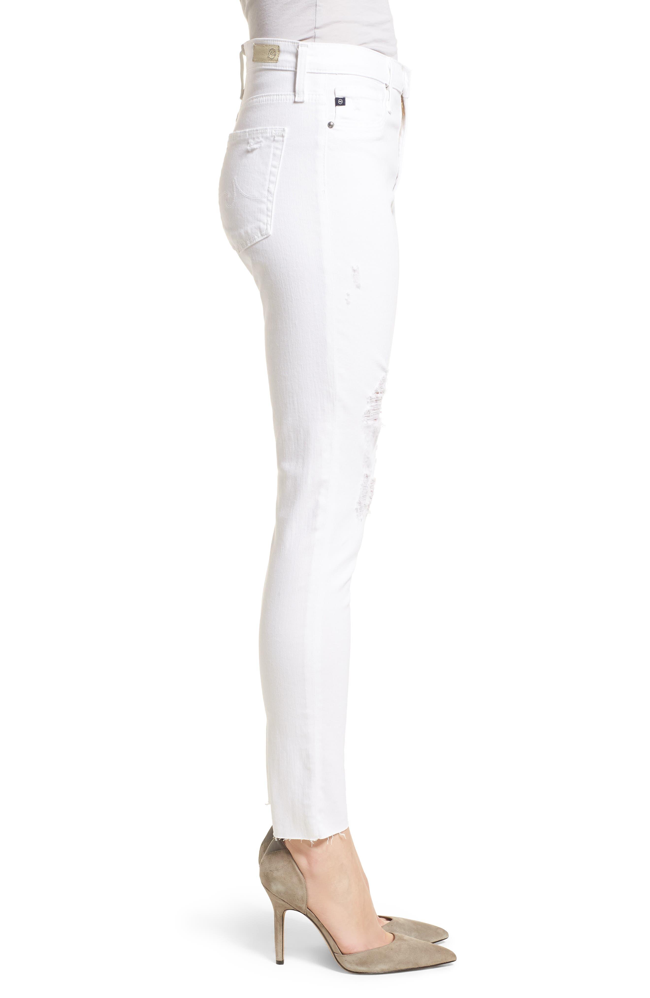 AG, The Farrah High Waist Ankle Skinny Jeans, Alternate thumbnail 4, color, UNCHARTED WHITE
