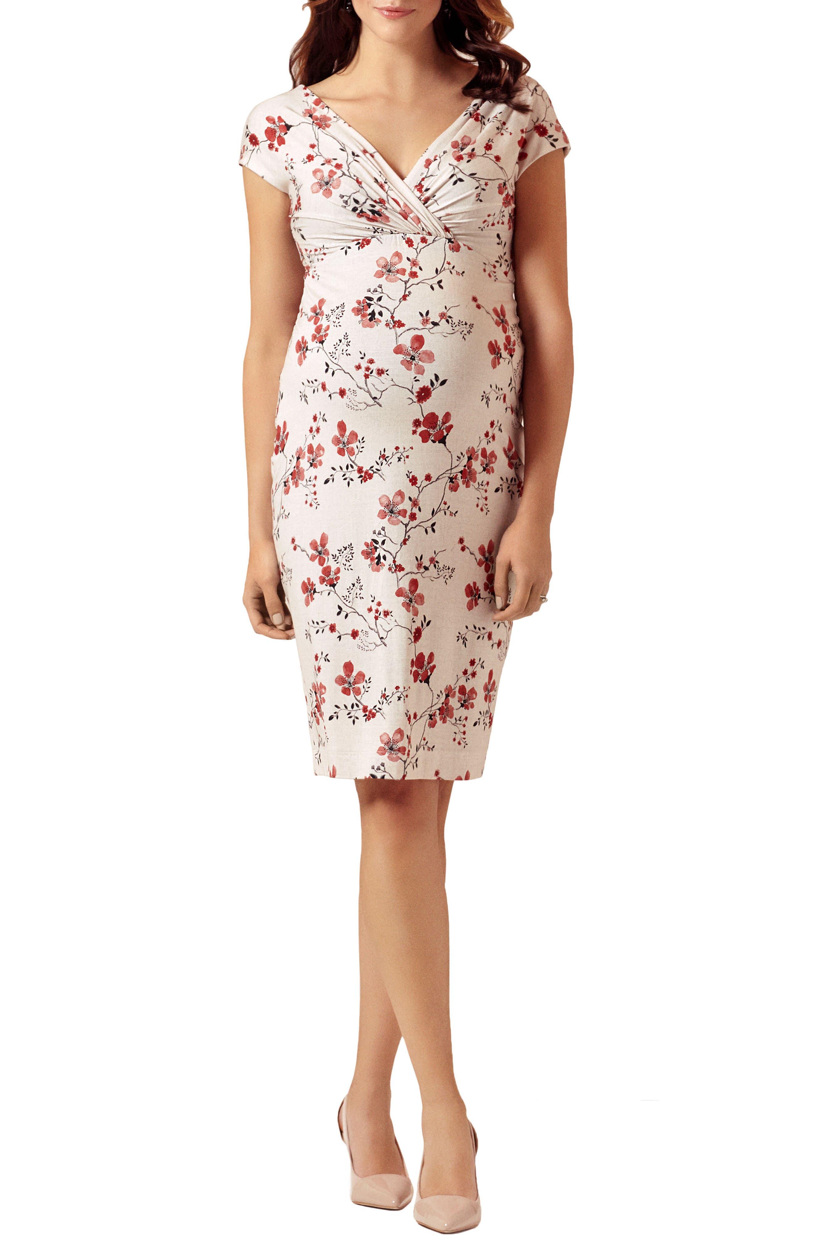 TIFFANY ROSE, Bardot Maternity Sheath Dress, Main thumbnail 1, color, CHERRY BLOSSOM
