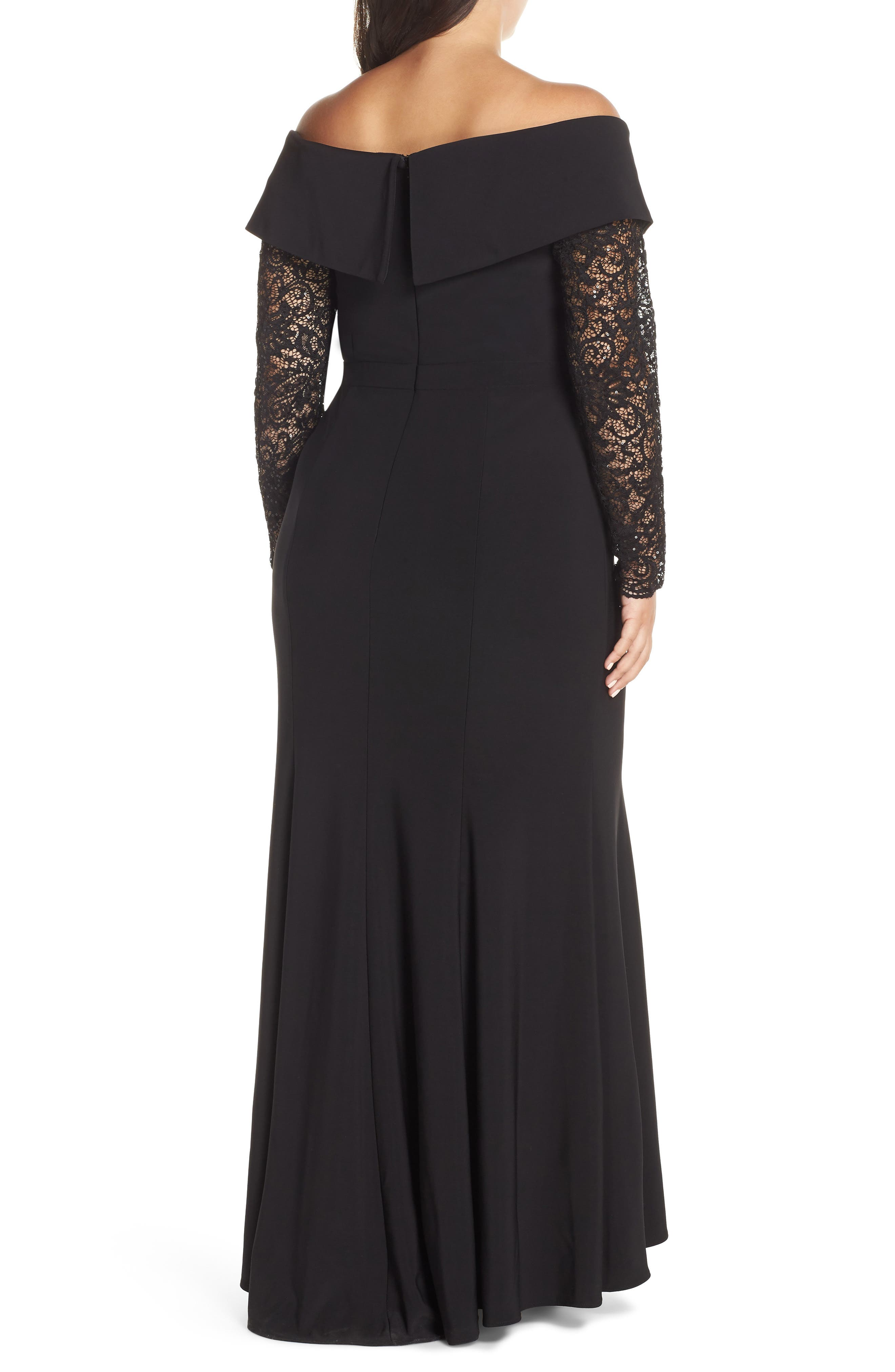 XSCAPE, Off the Shoulder Lace Sleeve Evening Gown, Alternate thumbnail 2, color, BLACK