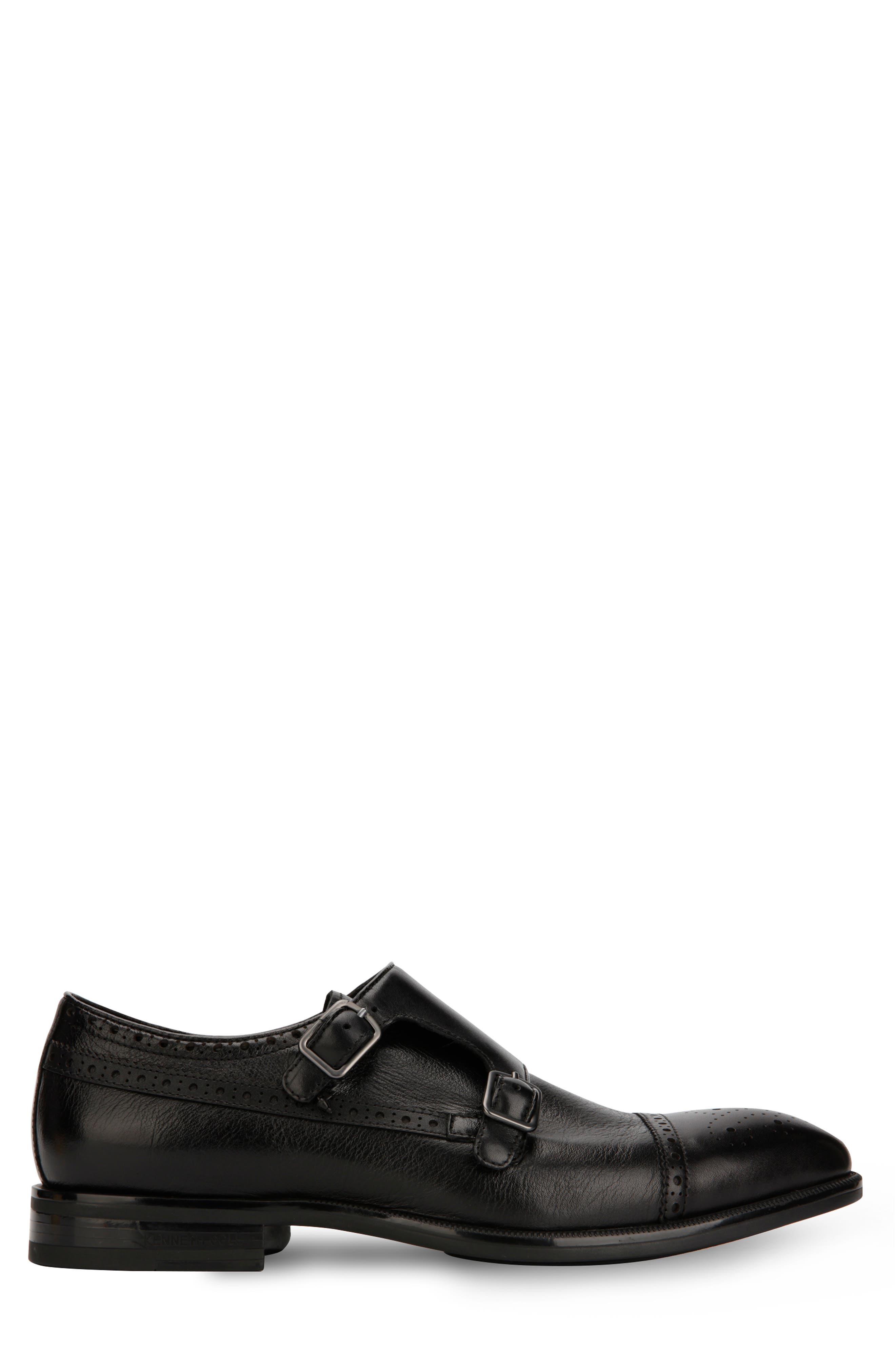 KENNETH COLE NEW YORK, Futurepod Double Monk Strap Shoe, Alternate thumbnail 2, color, BLACK TUMBLED LEATHER