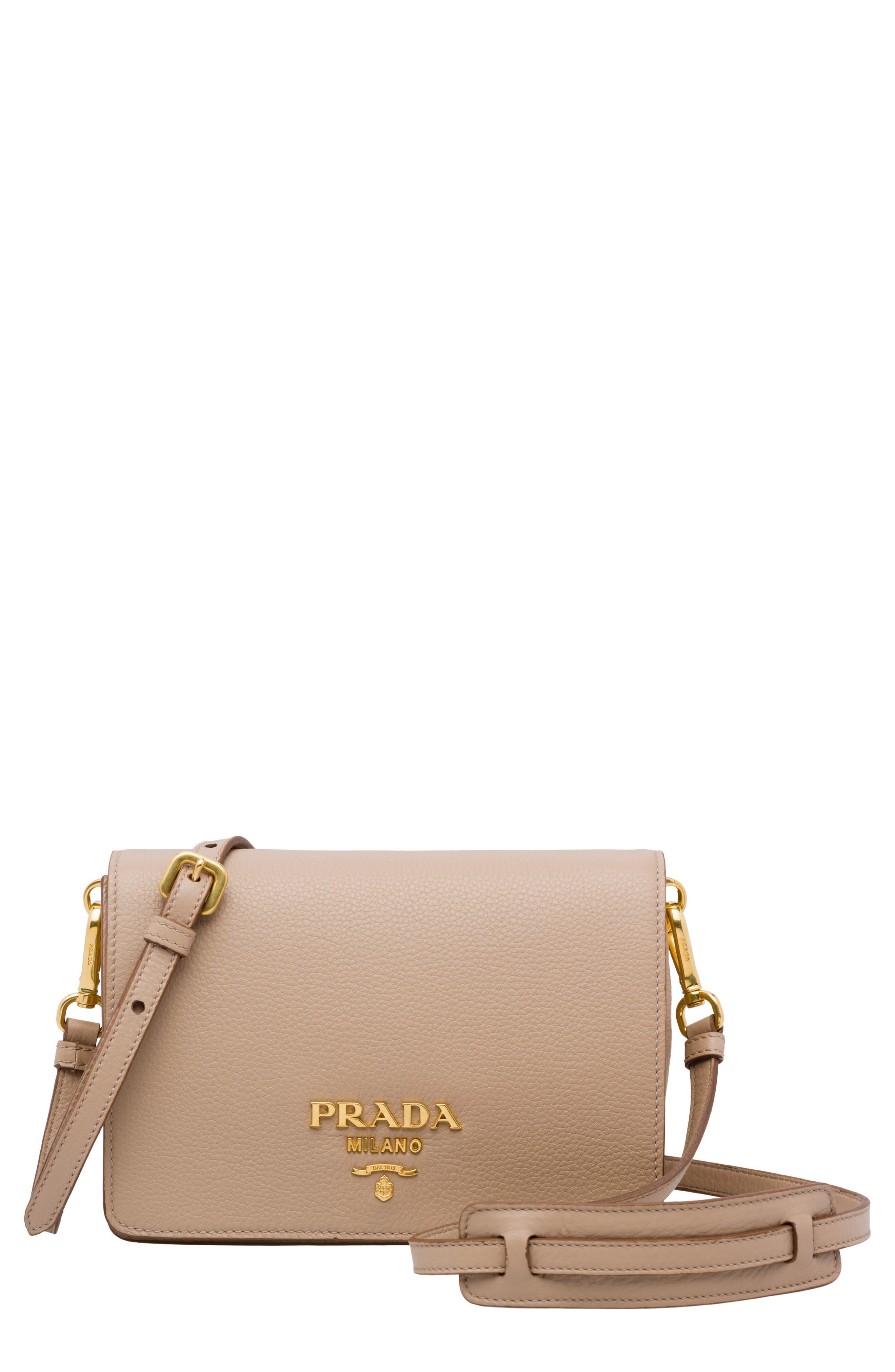 PRADA Vitello Daino Double Compartment Leather Shoulder Bag, Main, color, CAMMEO