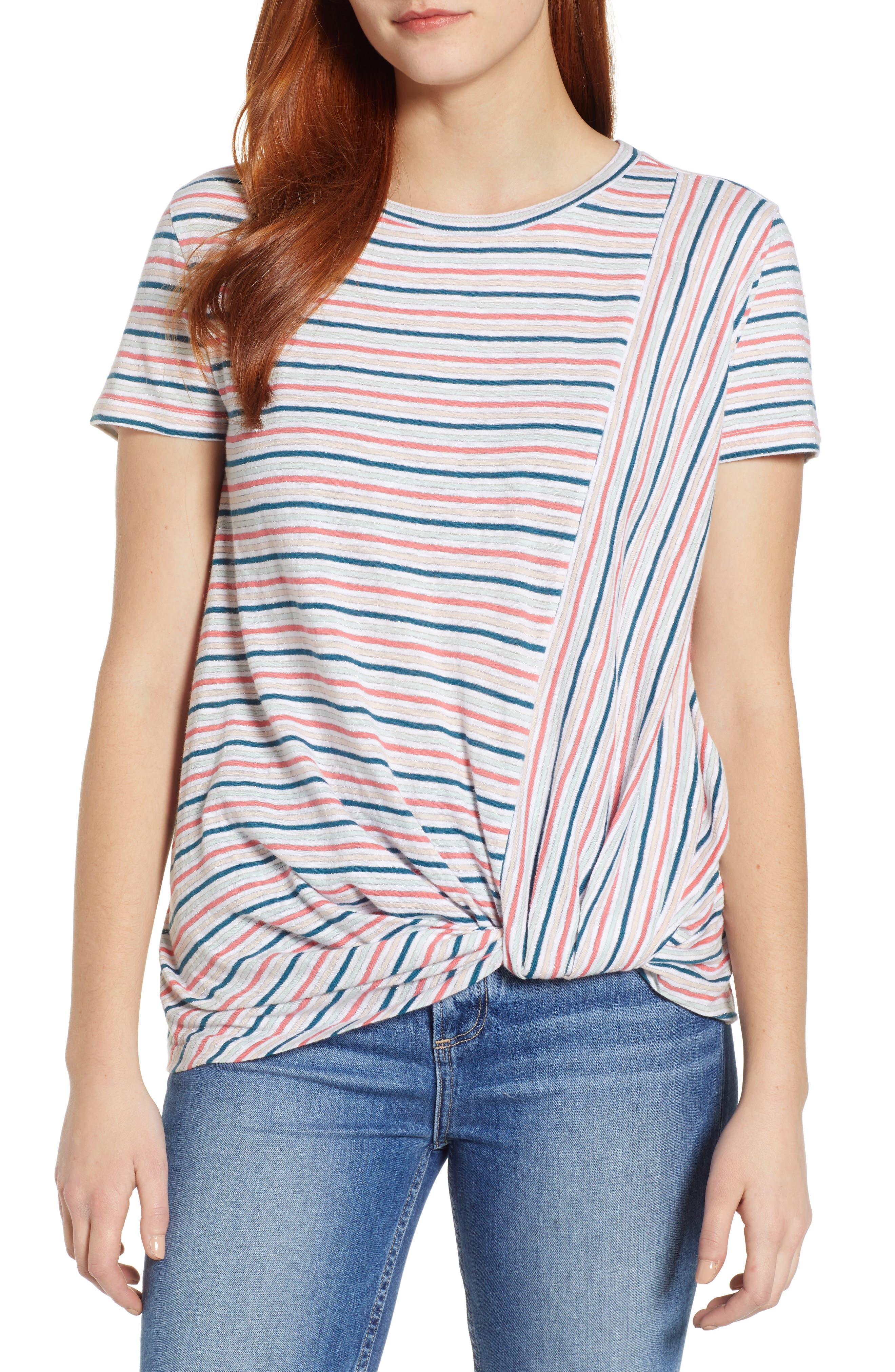 CASLON<SUP>®</SUP> Metallic Stripe Knot Front Tee, Main, color, IVORY- BLUE CANDY STP