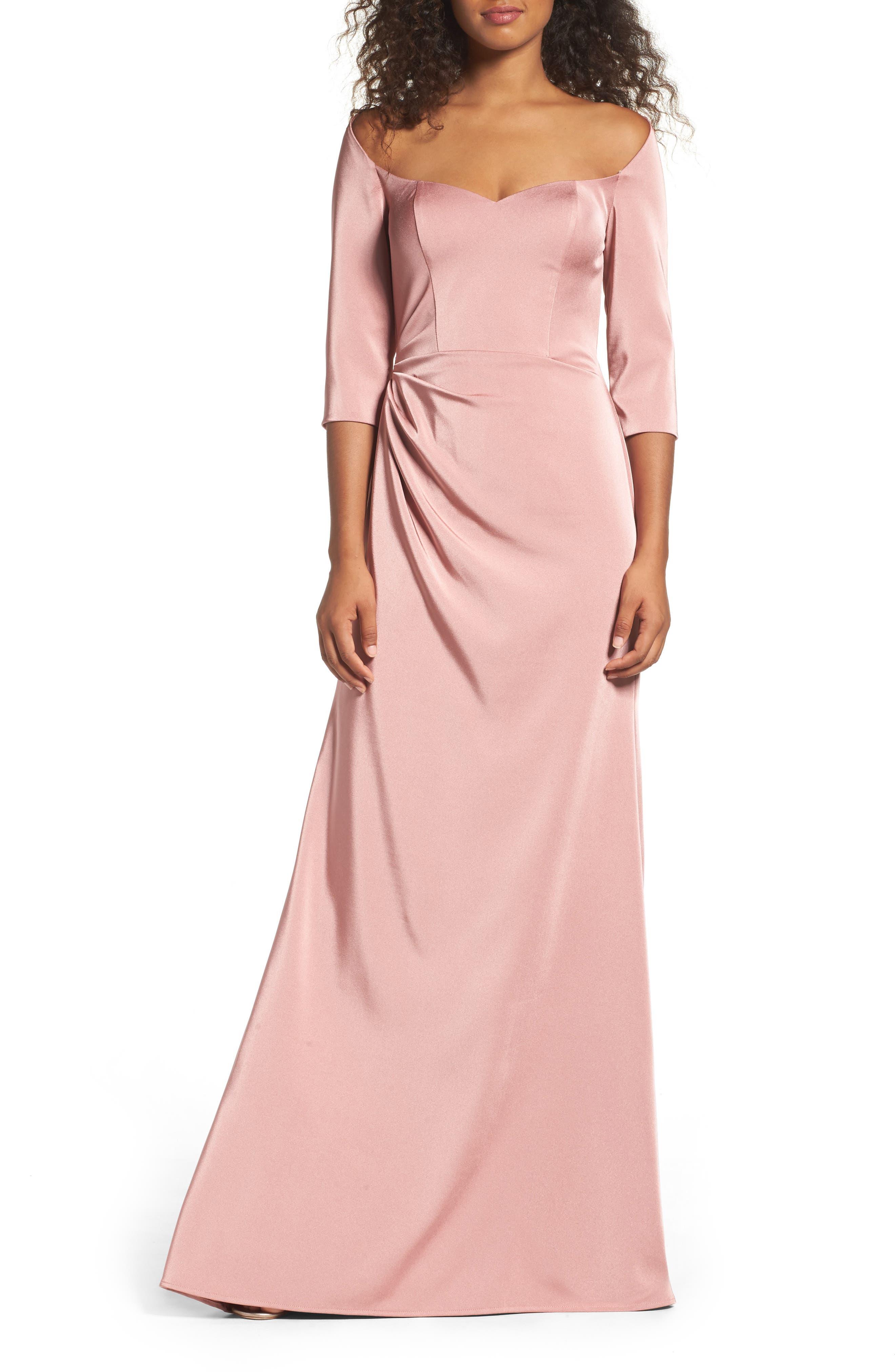 La Femme Sweetheart Satin Gown, Pink