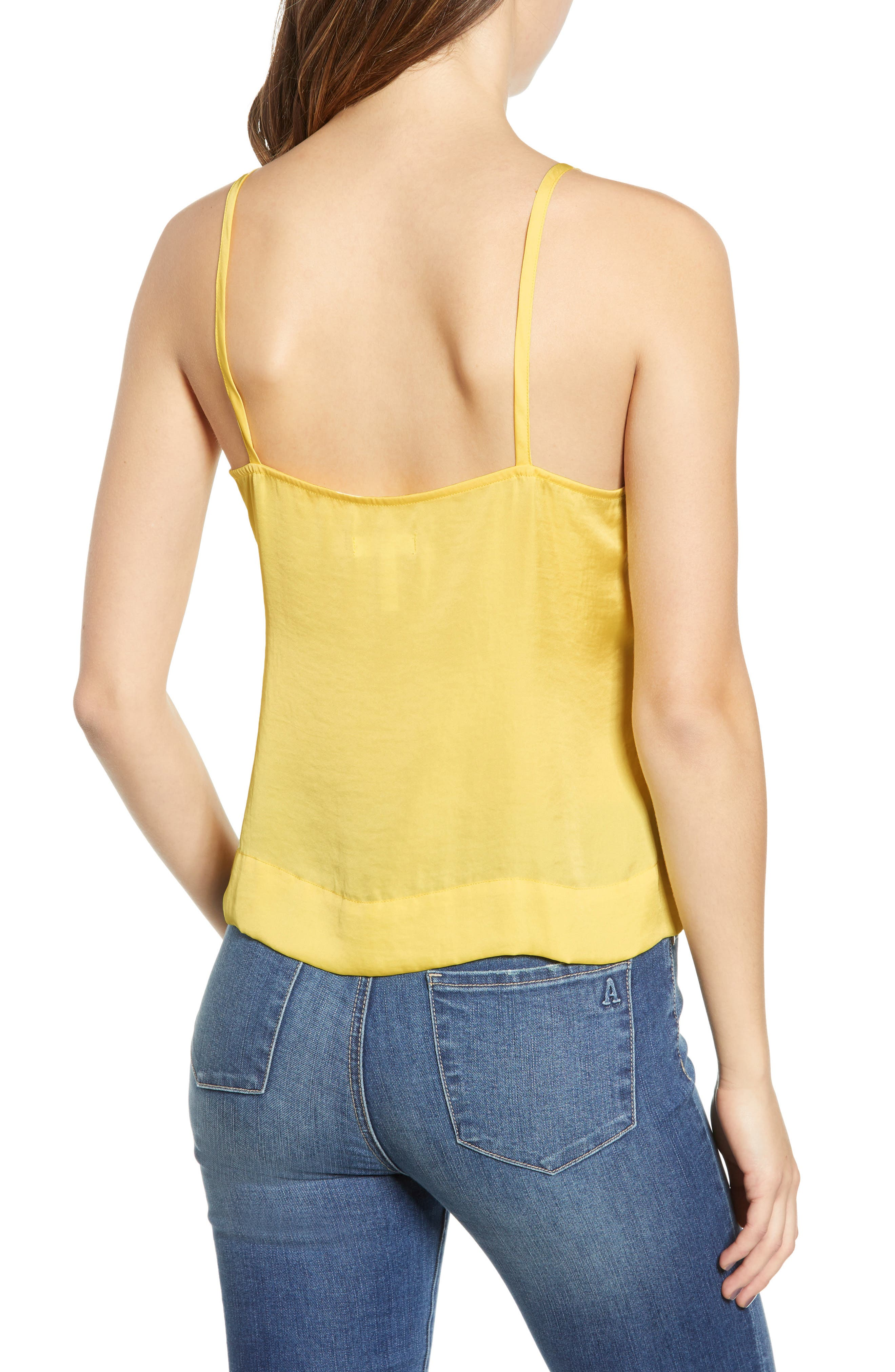 LEITH, Fluid Strappy Satin Camisole, Alternate thumbnail 2, color, YELLOW MERINGUE