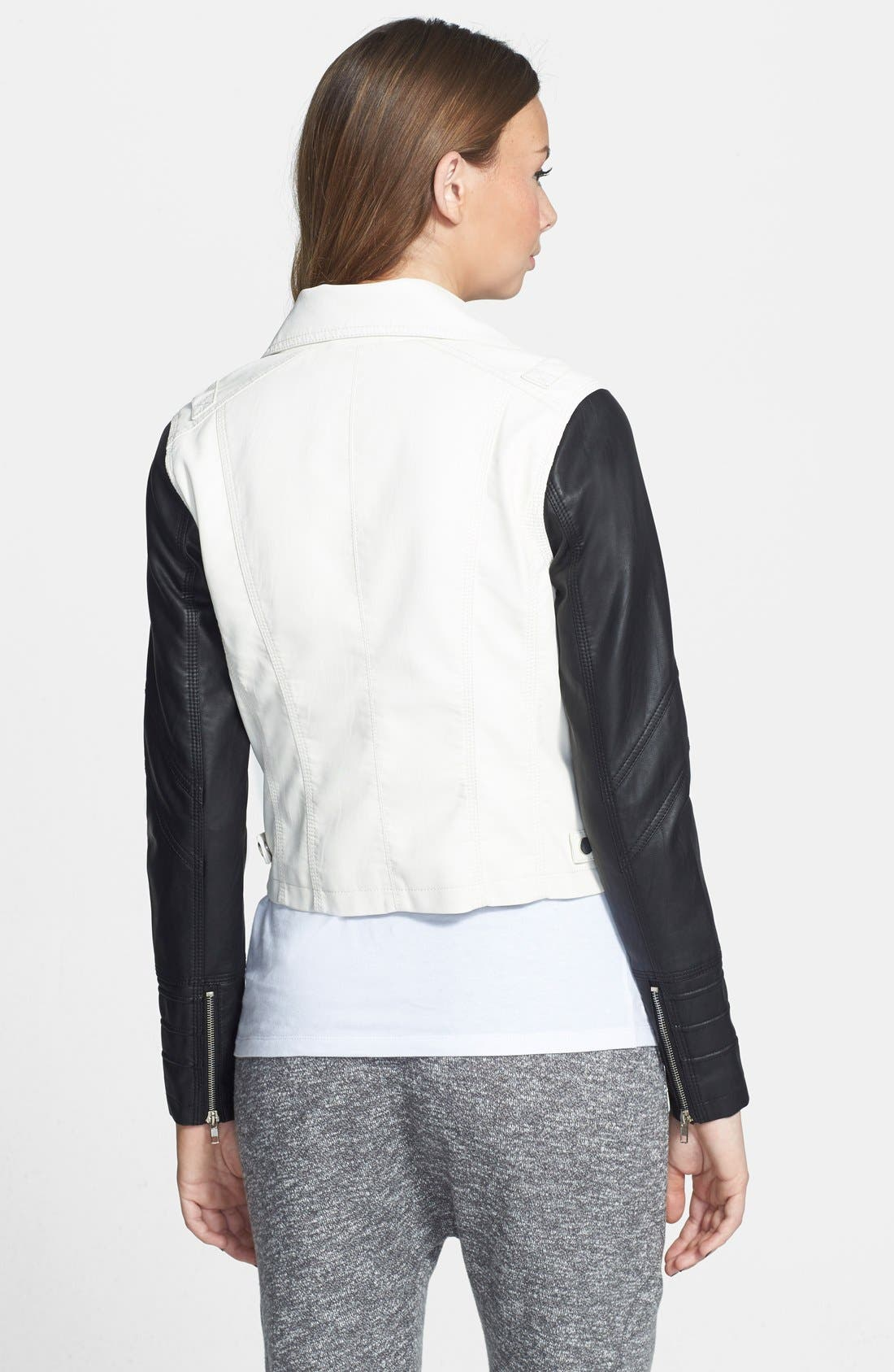 BOY MEETS GIRL, Colorblock Faux Leather Jacket, Alternate thumbnail 3, color, 100