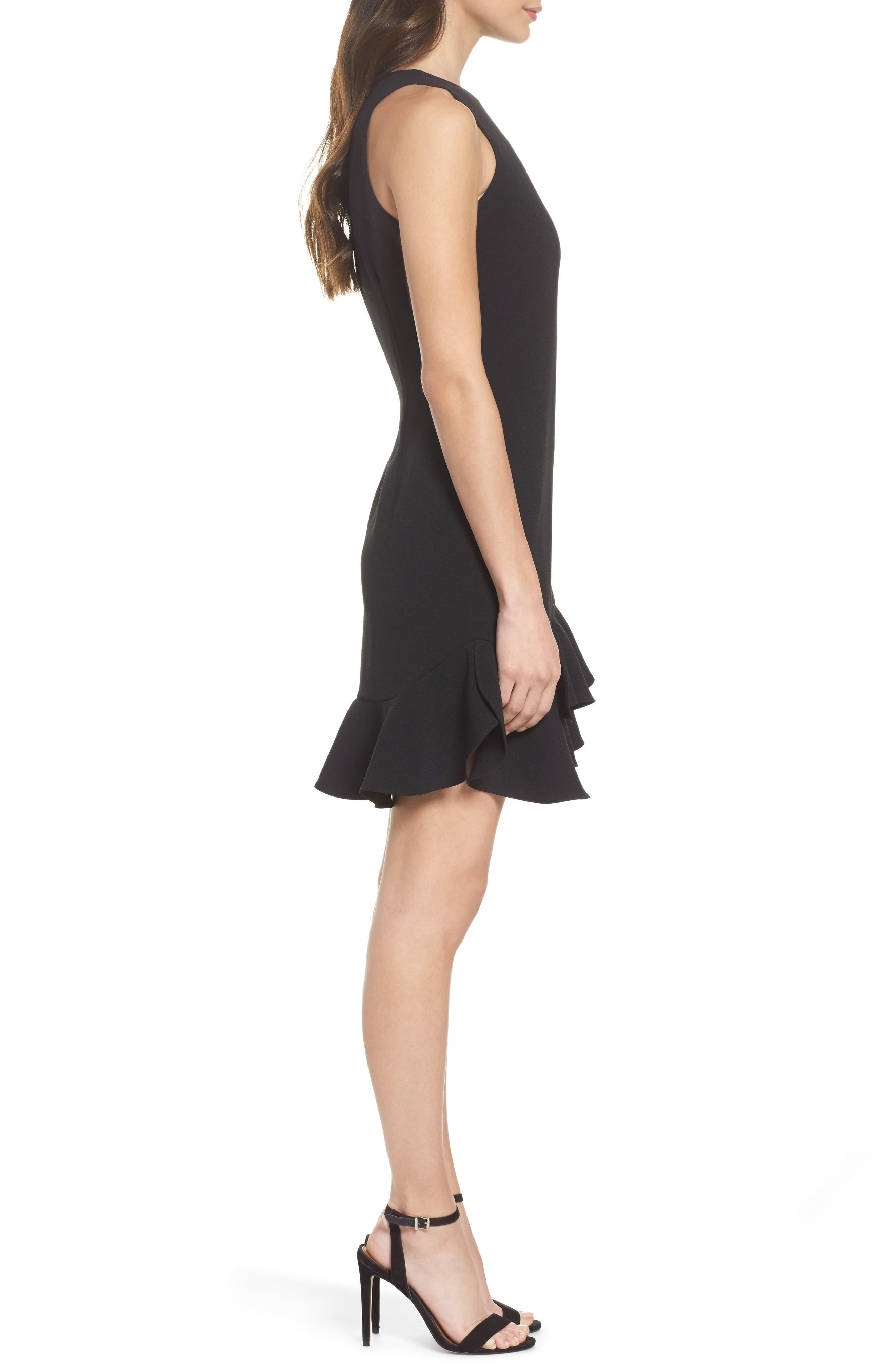 CHELSEA28, Tiered Ruffle Hem Mini Dress, Alternate thumbnail 4, color, 001