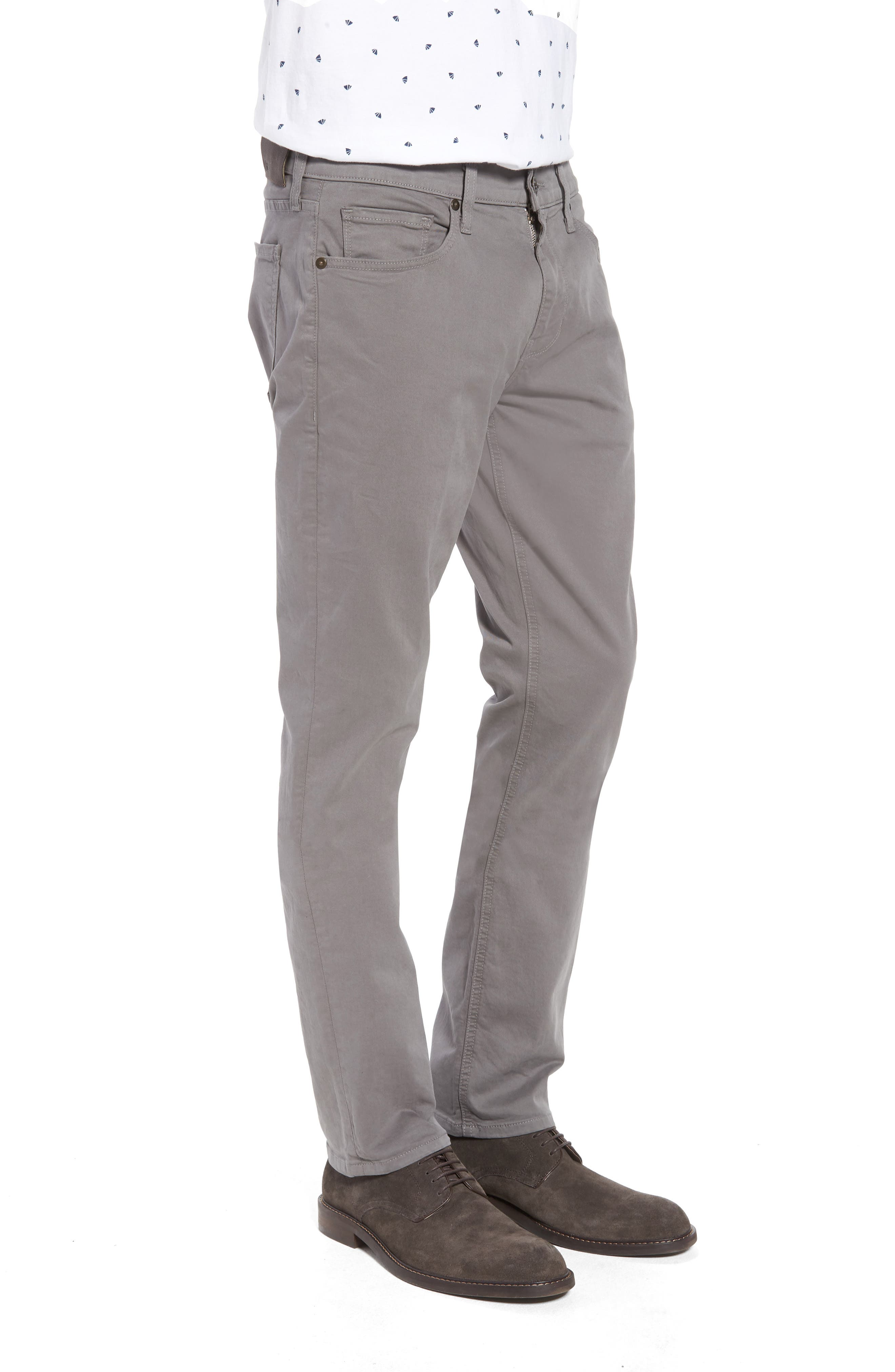 PAIGE, 'Federal' Slim Straight Leg Twill Pants, Alternate thumbnail 4, color, 022