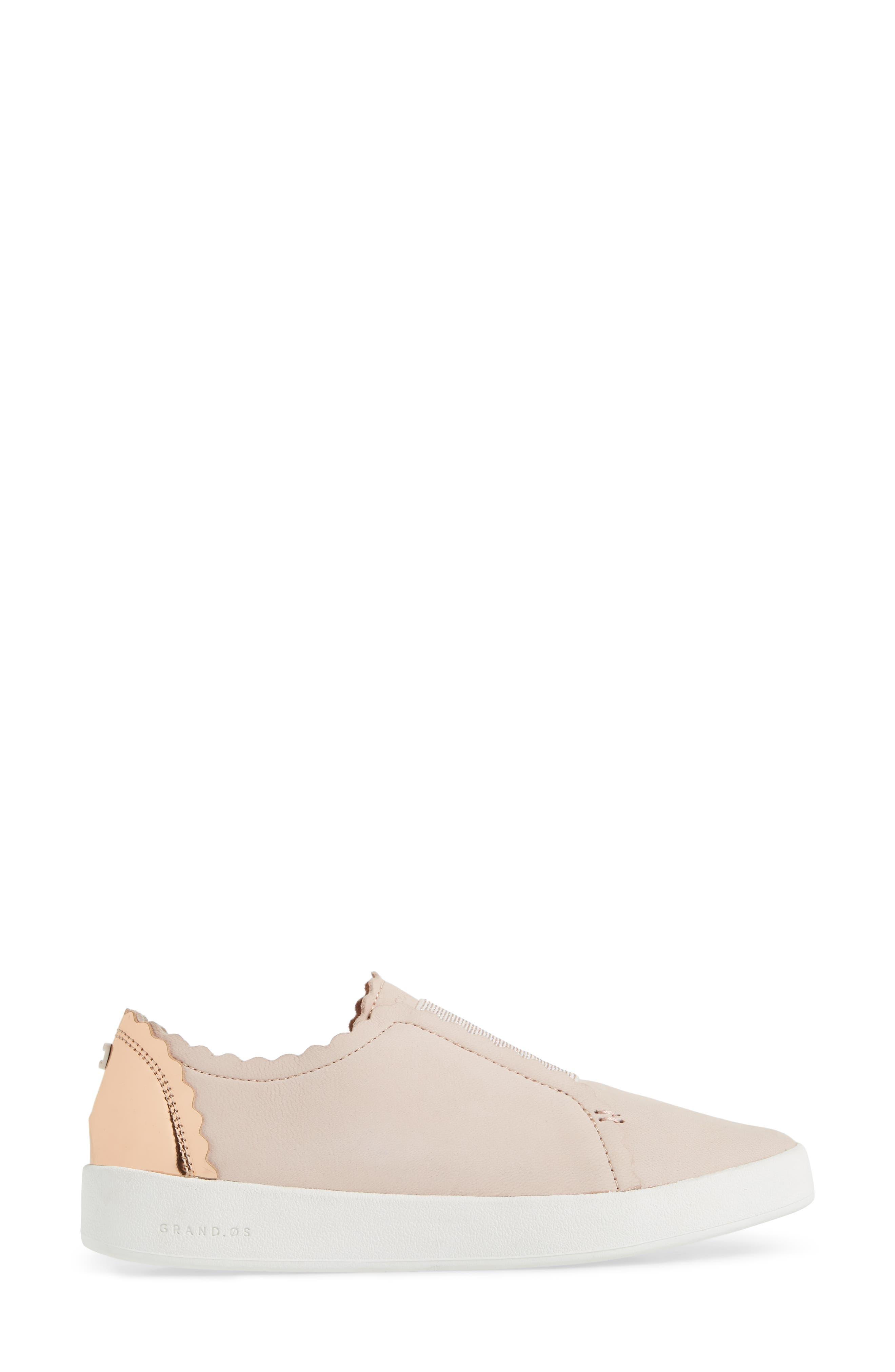 COLE HAAN, GrandPro Spectator Scalloped Slip-On Sneaker, Alternate thumbnail 3, color, PEACH BLUSH NUBUCK