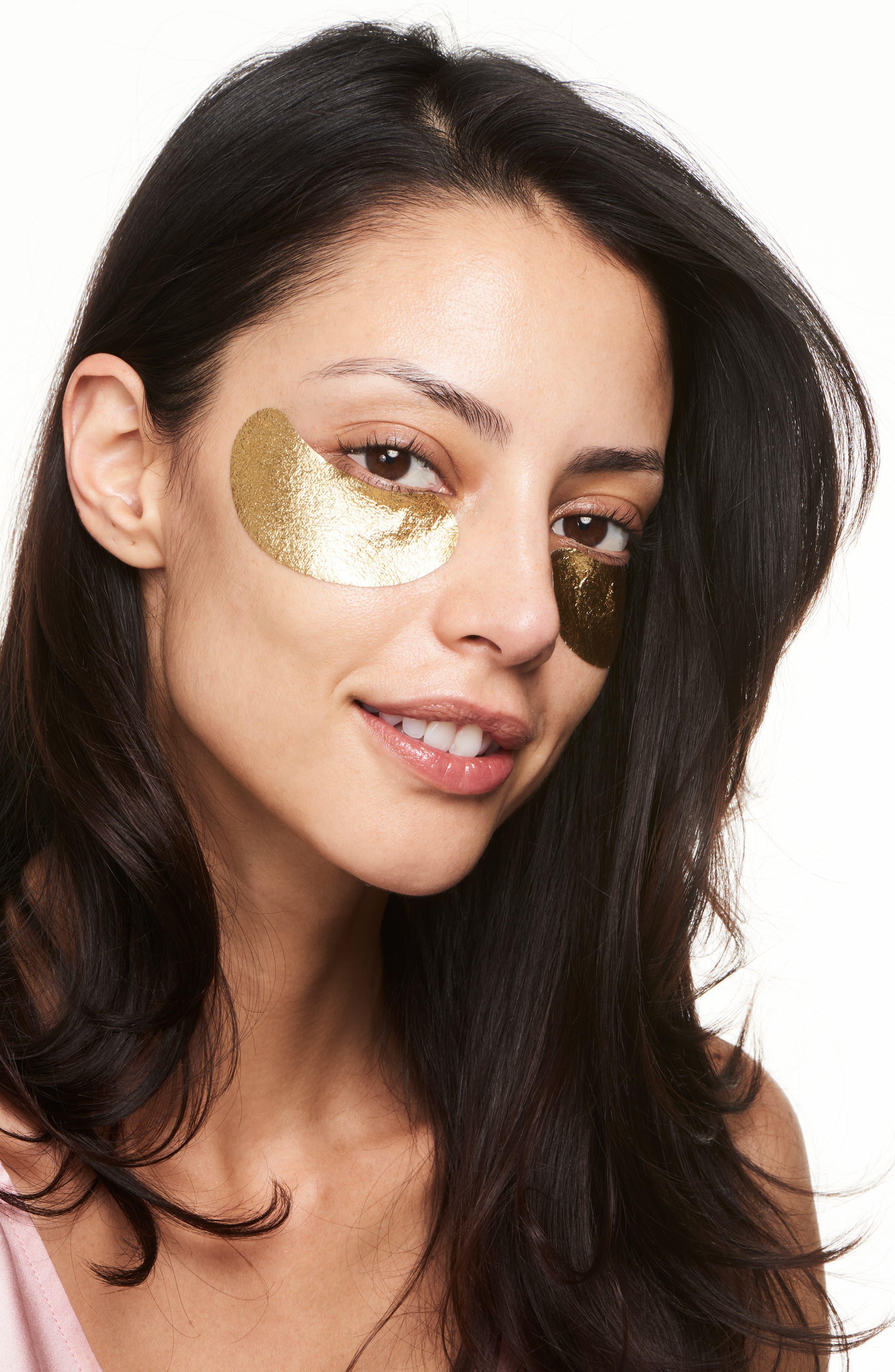 WANDER BEAUTY, Baggage Claim Gold Eye Masks, Alternate thumbnail 5, color, NO COLOR