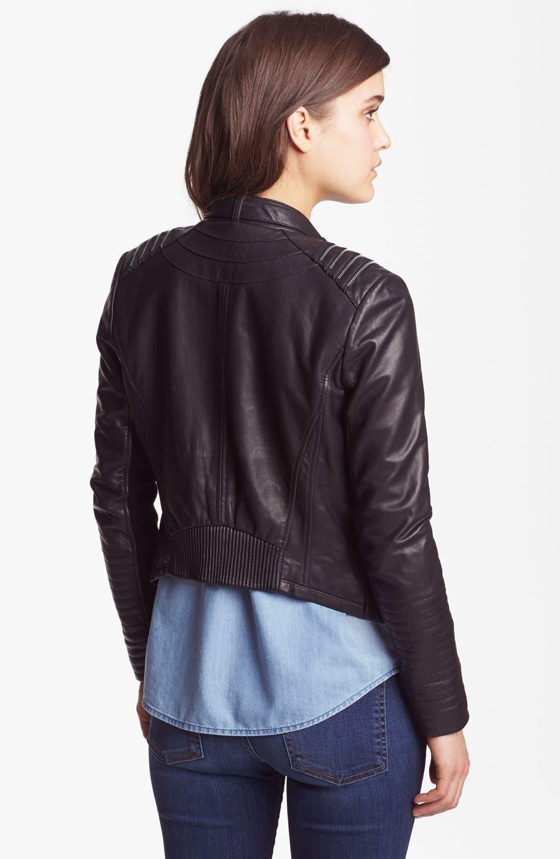 BERNARDO, Asymmetrical Leather Moto Jacket, Alternate thumbnail 3, color, 001