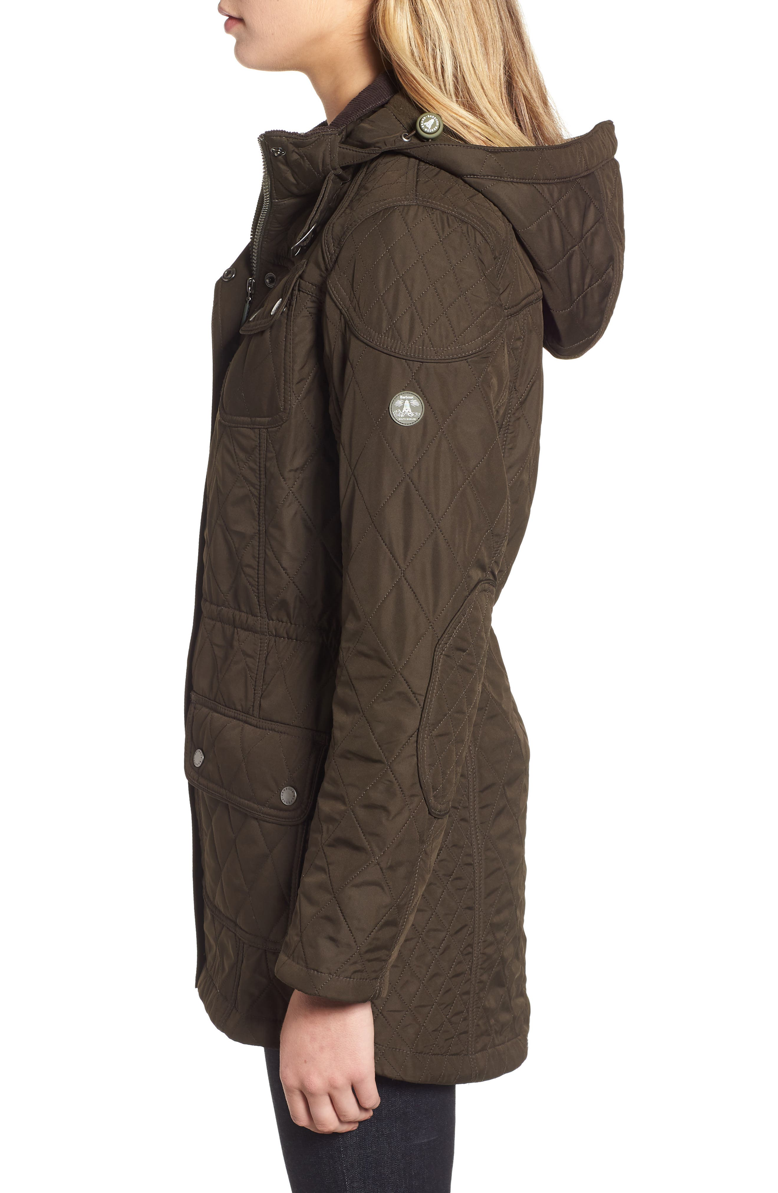 BARBOUR, 'Arrow' Quilted Anorak, Alternate thumbnail 4, color, 340
