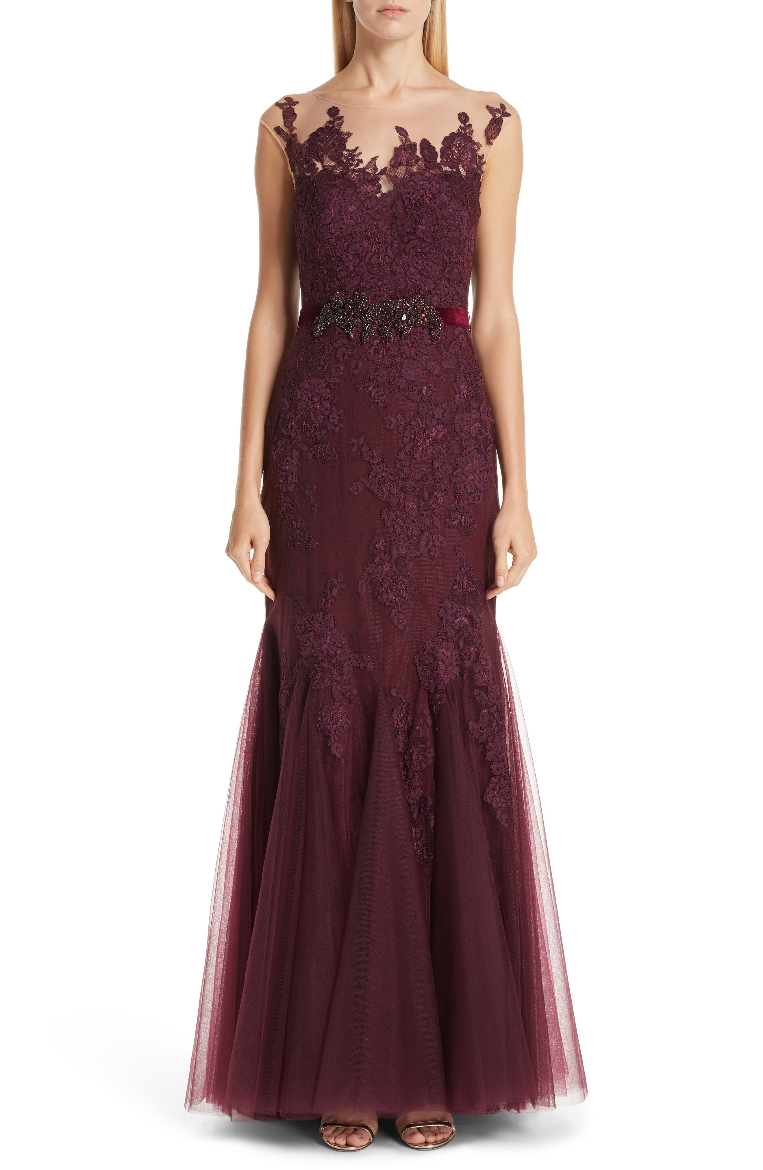 Badgley Mischka Collection Belted Illusion Neck Lace Trumpet Gown, Burgundy