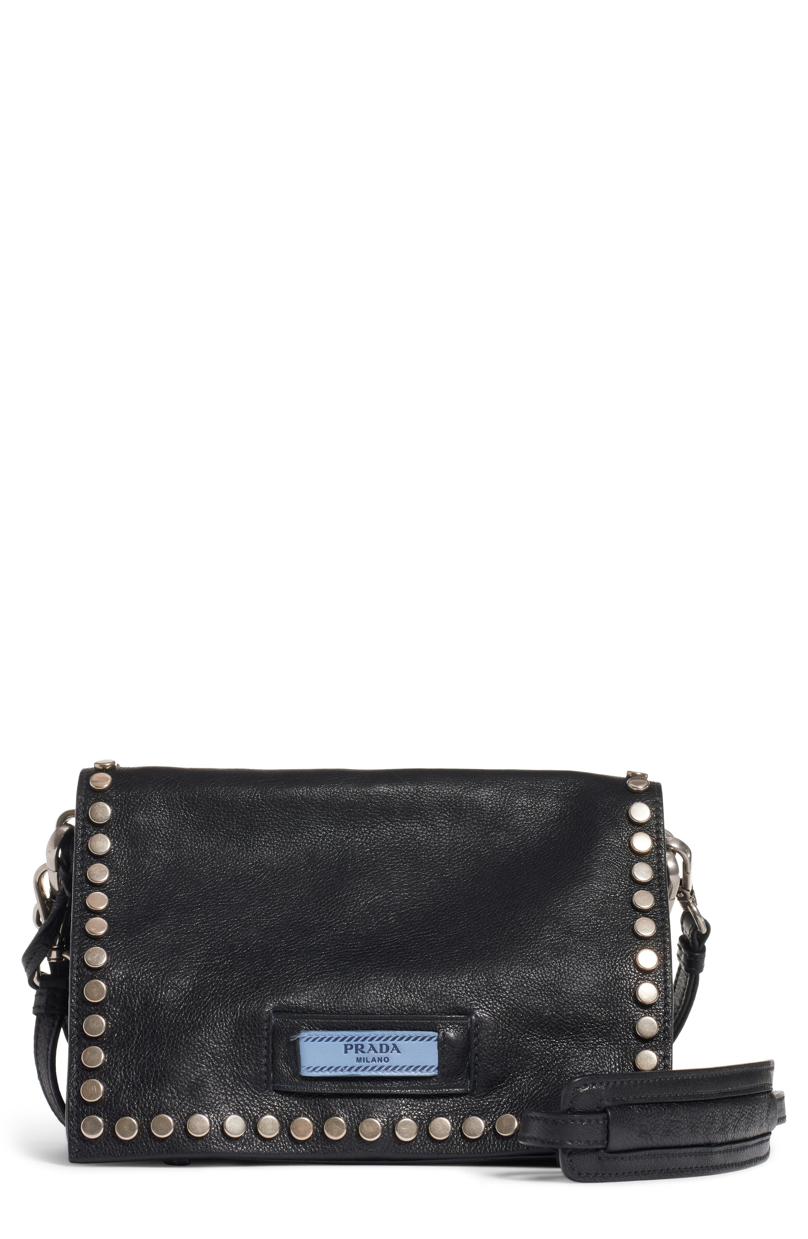 PRADA, Small Stud Etiquette Shoulder Bag, Main thumbnail 1, color, NERO/ ASTRALE