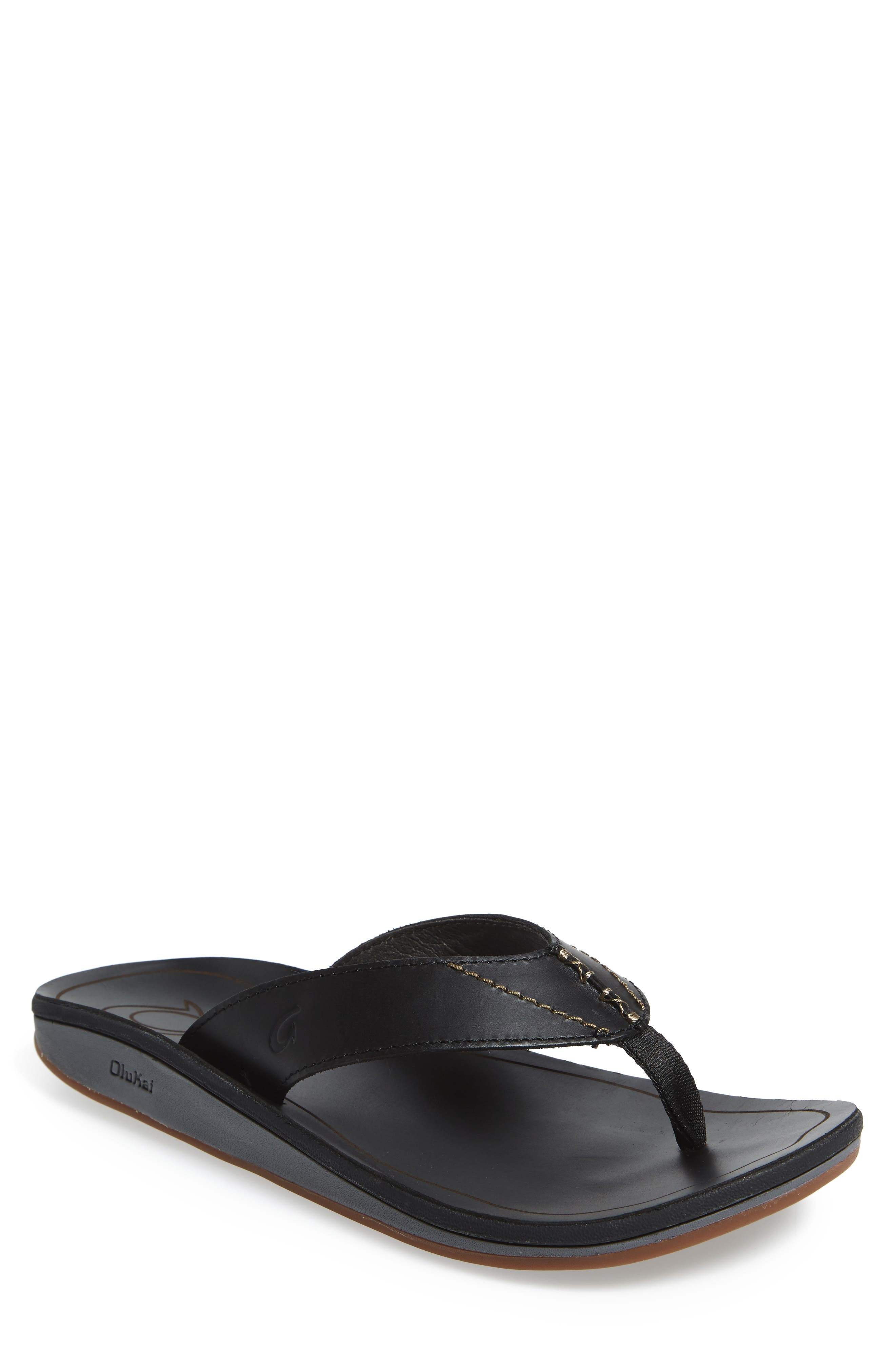 OLUKAI Nohona Ili Flip Flop, Main, color, BLACK/ BLACK LEATHER