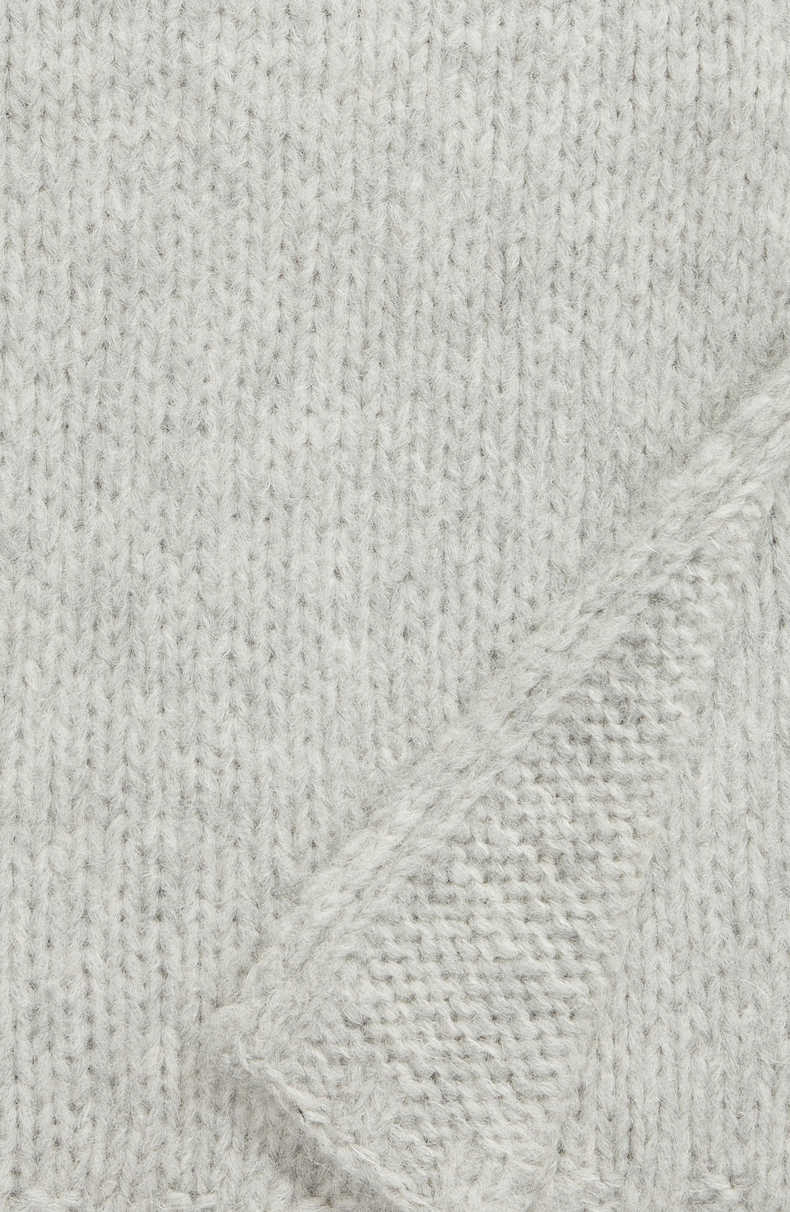 NORDSTROM SIGNATURE, Chunky Knit Alpaca Blend Throw Blanket, Alternate thumbnail 2, color, GREY HEATHER