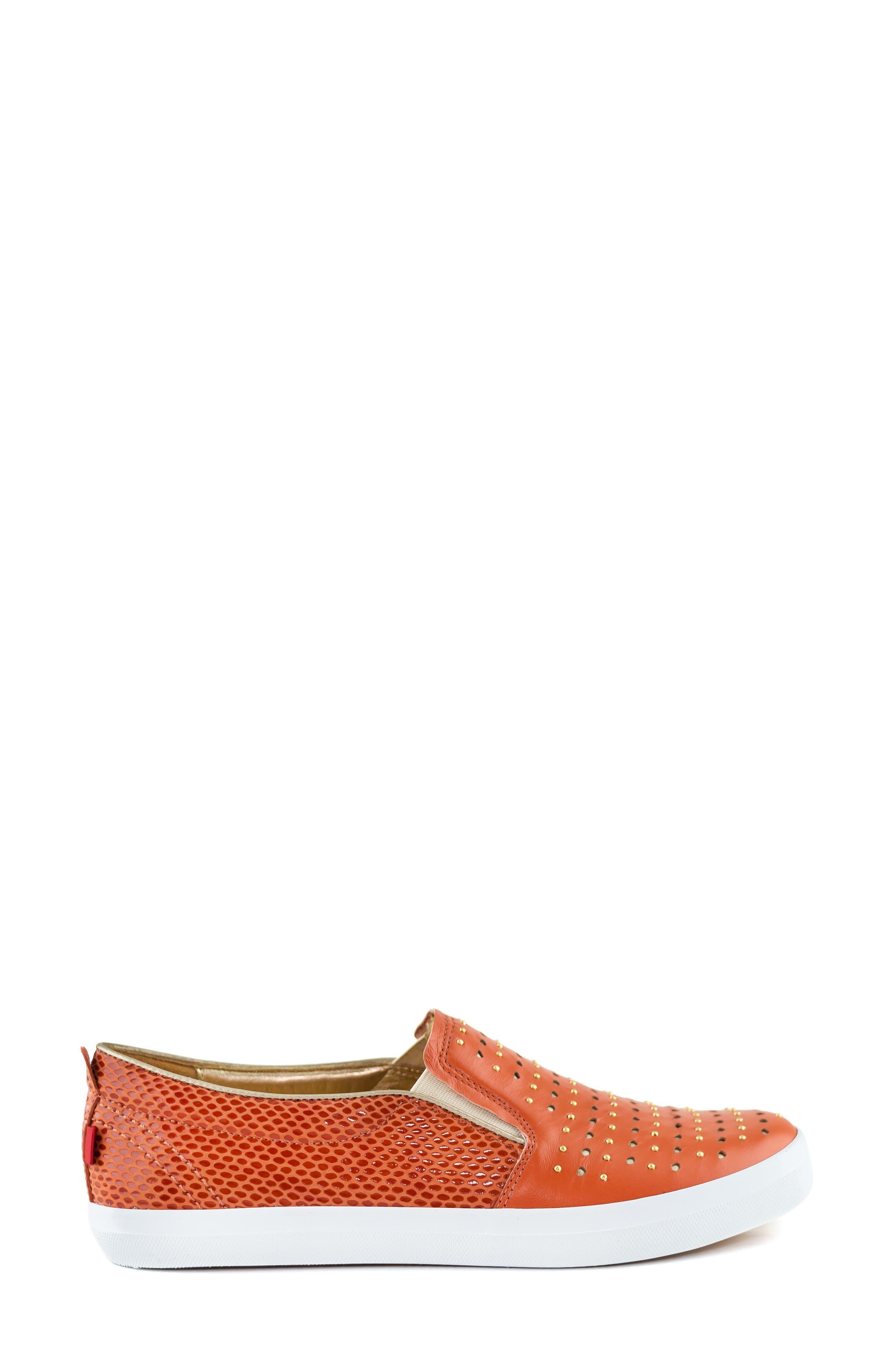 MARC JOSEPH NEW YORK, Soho Sneaker, Alternate thumbnail 3, color, CORAL LEATHER