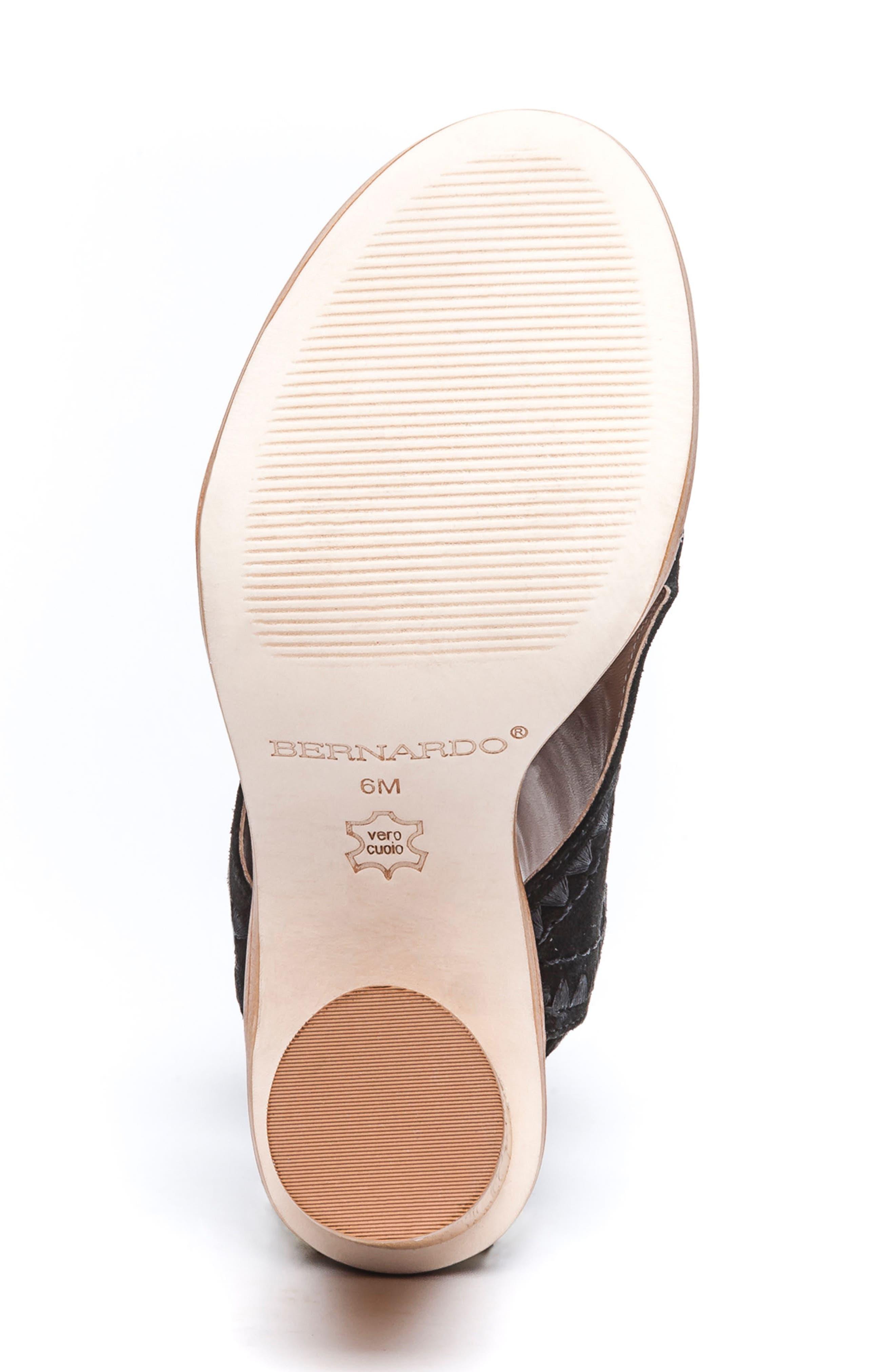 BERNARDO, Harper Embroidered Sandal, Alternate thumbnail 6, color, BLACK LEATHER